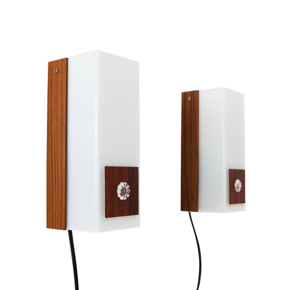Pair of plastic and metal bedside wall lights, 1970s
