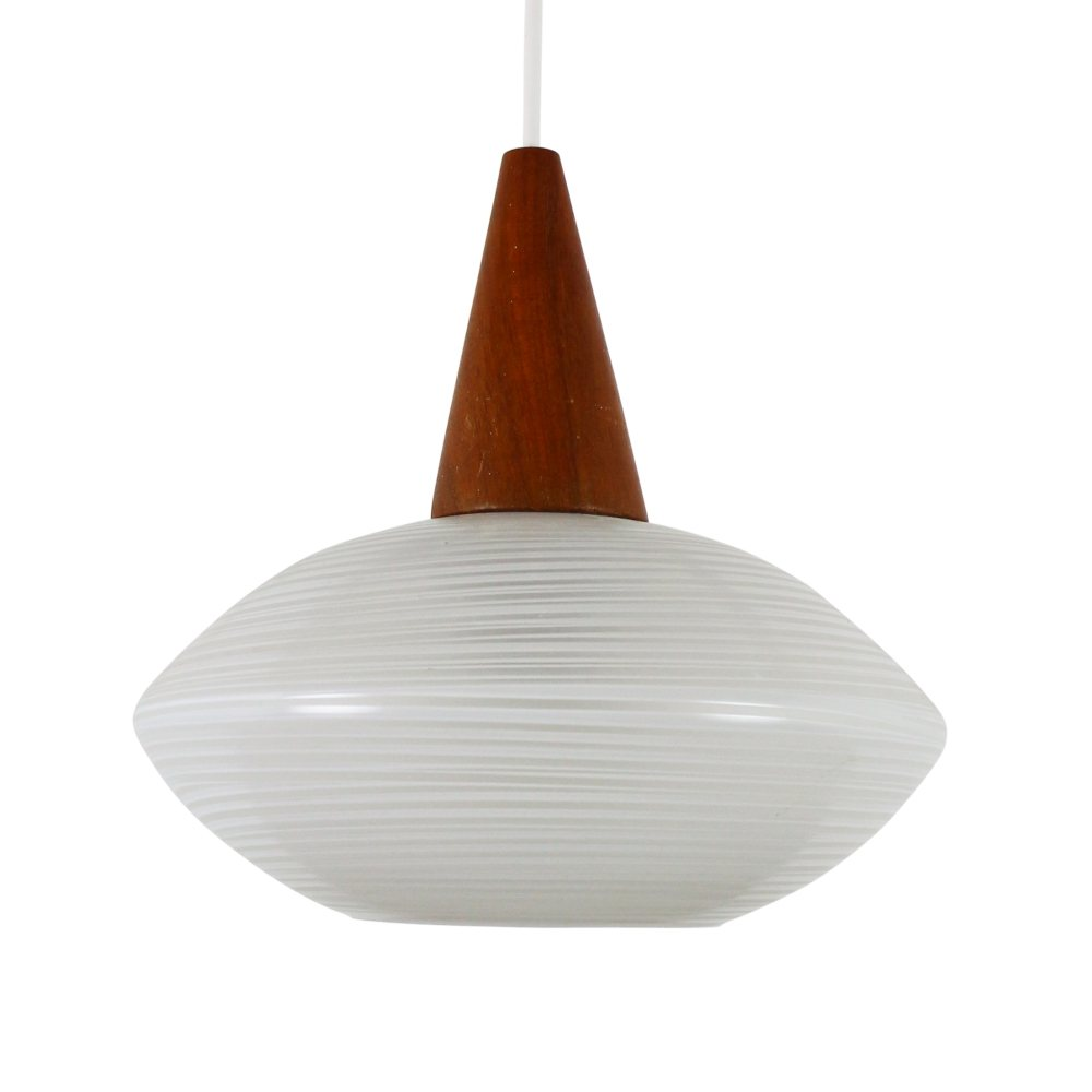 Teak and Glass pendant light, 1960s