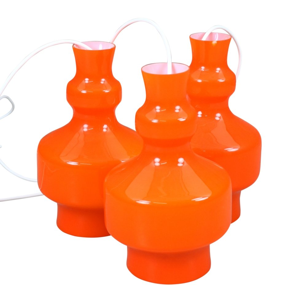 Orange opaline glass 'B-1202' pendant light by Raak Amsterdam, 1968