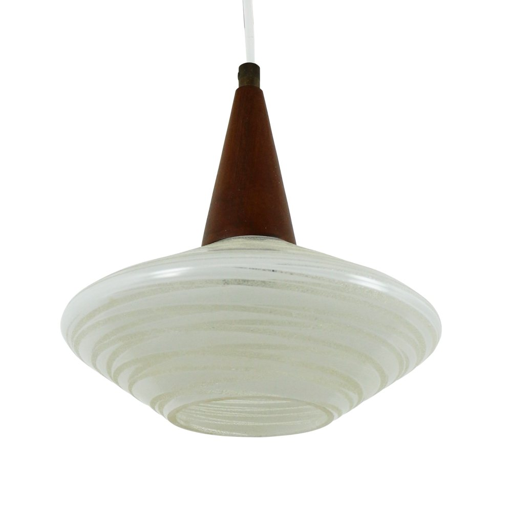 Flying saucer pendant lamp by Philips made of glass and wood, 1960s