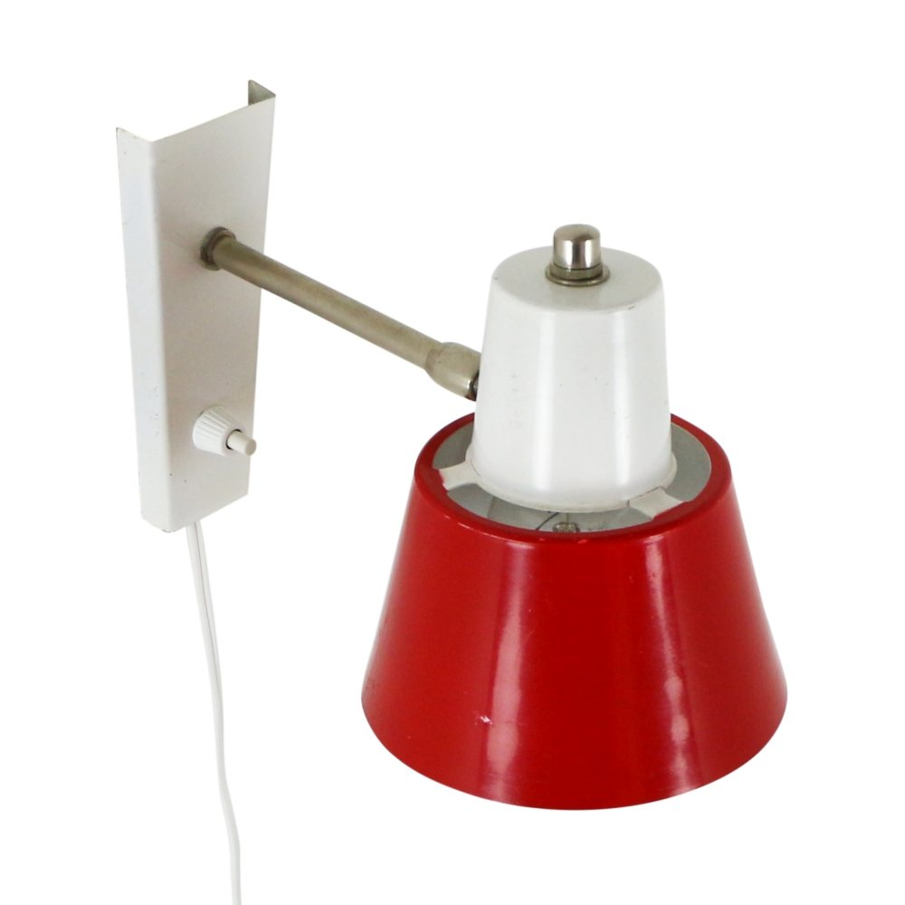 Red and white wall lamp by Hala Zeist, 1970s