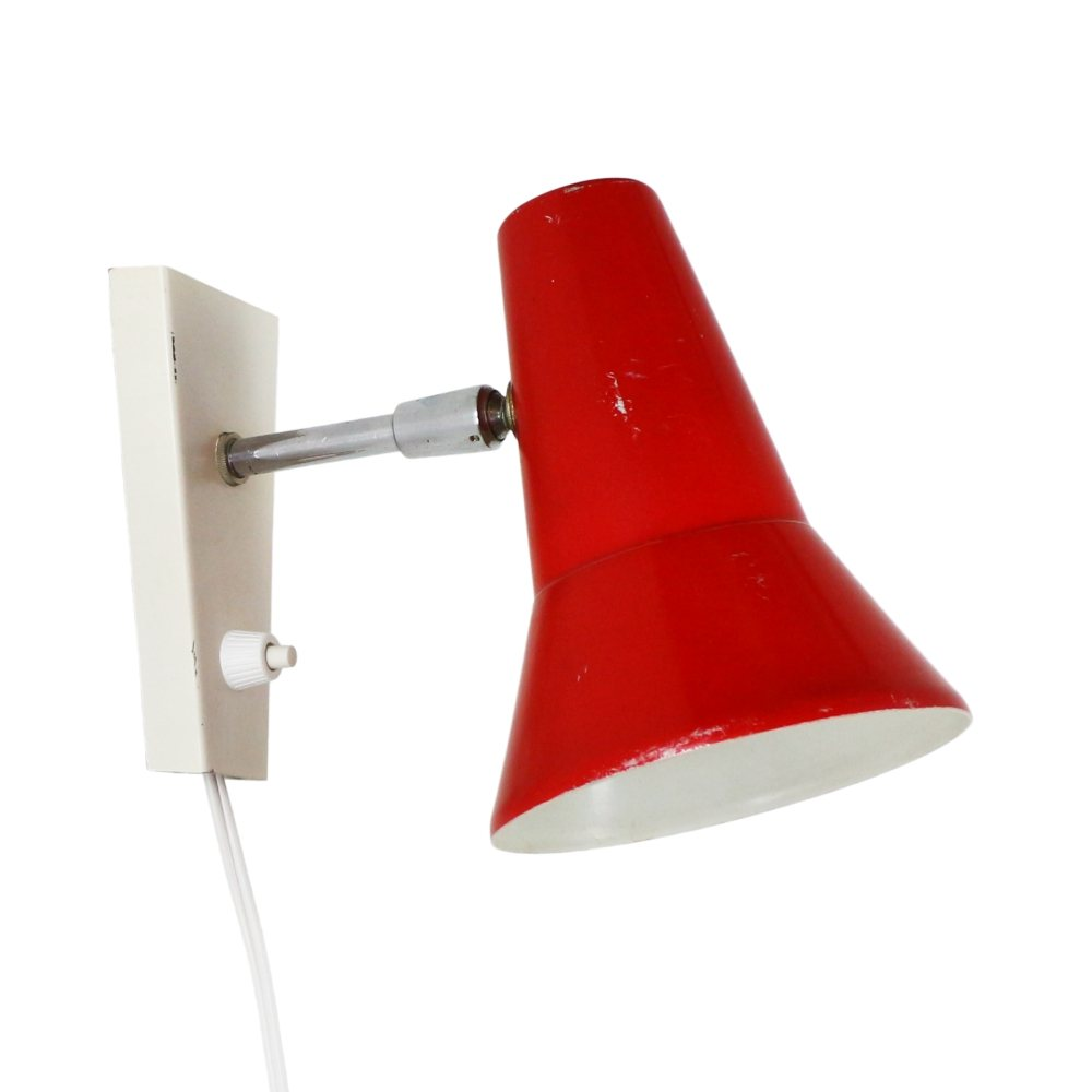 Vintage red / white wall light, 1970s