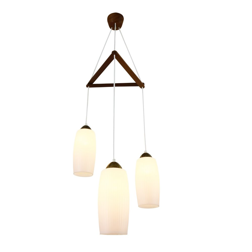 Tri cone cascade milk glass pendant light, 1960s
