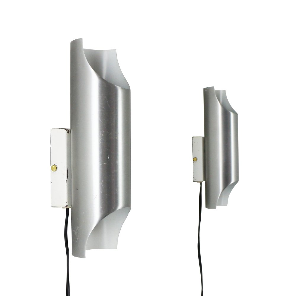 Pair of Aluminium Fuga style wall lights, 1960s