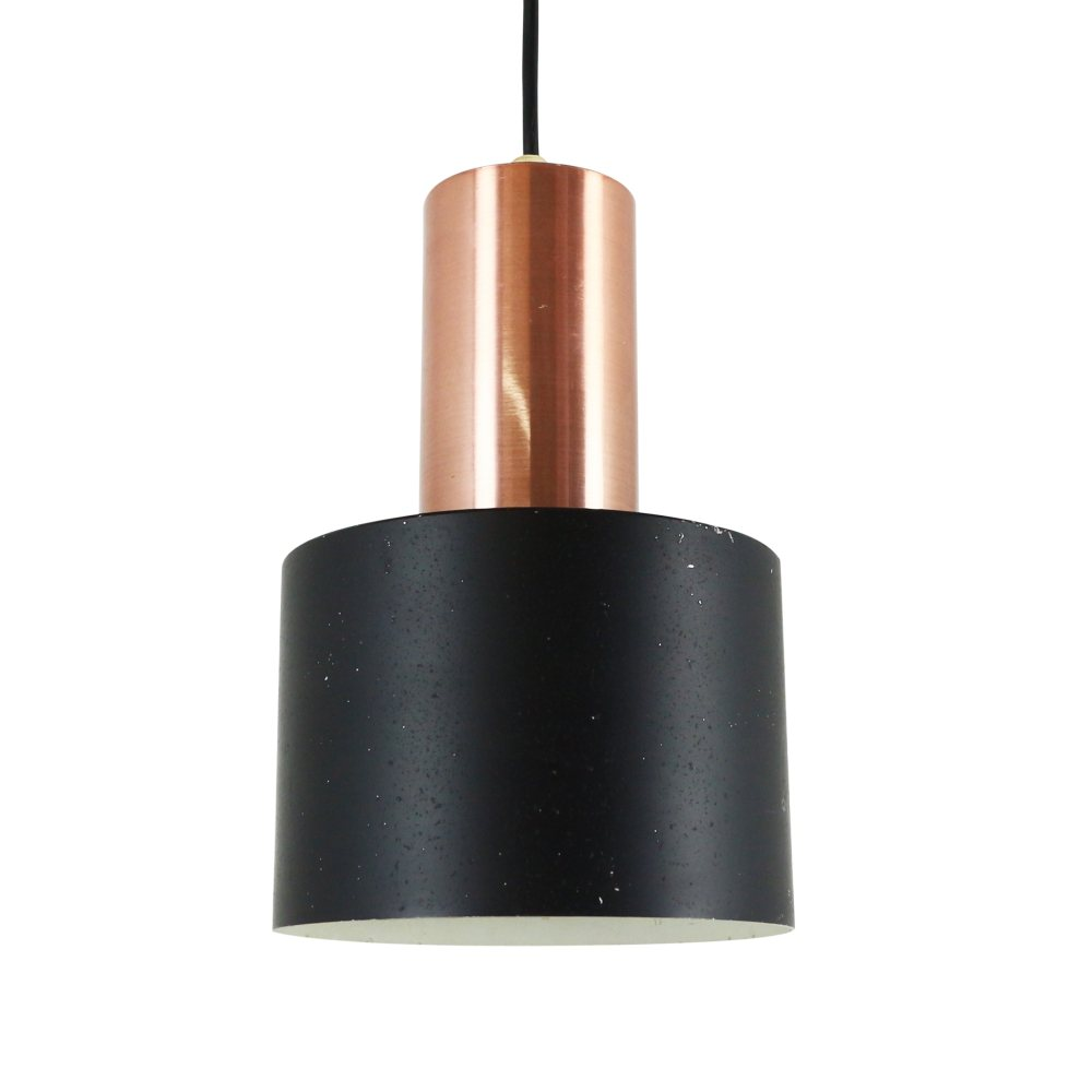 Black metal and copper Scandinavian pendant, 1960s