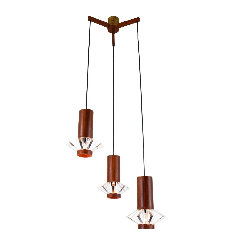 Tri cone cascade pendant light with star shaped lights, 1960s