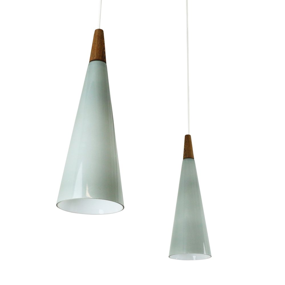 Pair of grey glass cone shaped pendant lights by Holmegaard, 1960s