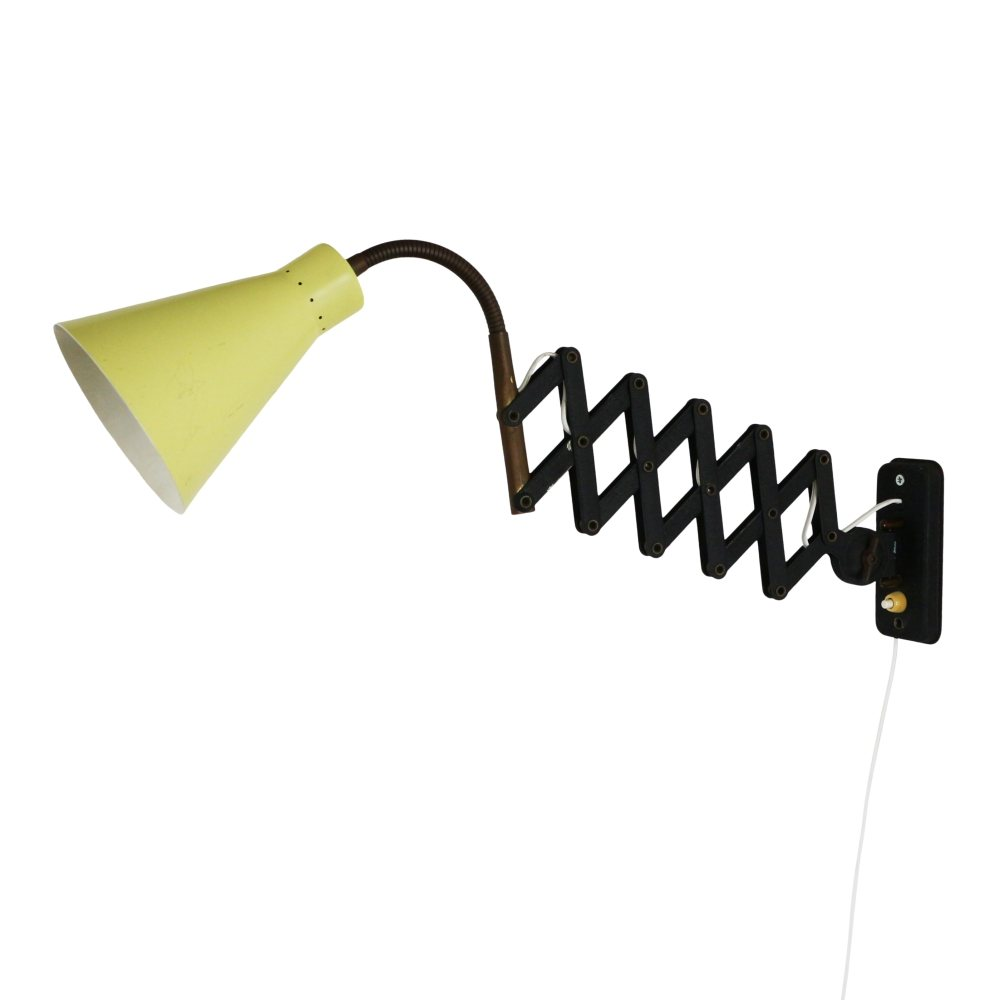 Yellow and black scissor wall light, 1950s