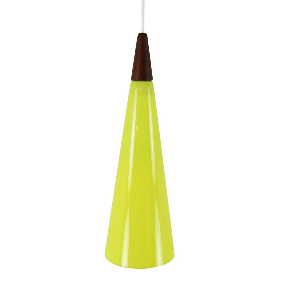 Yellow glass cone shaped pendant light by Holmegaard, 1960s