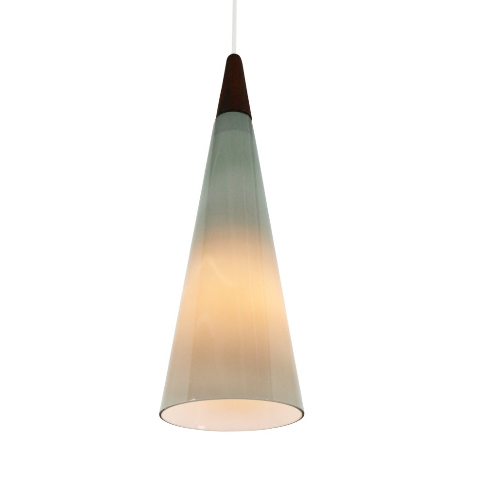 Grey glass cone shaped pendant light by Holmegaard, 1960s