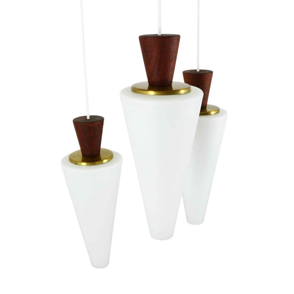 Scandinavian tri-cone pendant with milk glass, teak and brass, 1960s