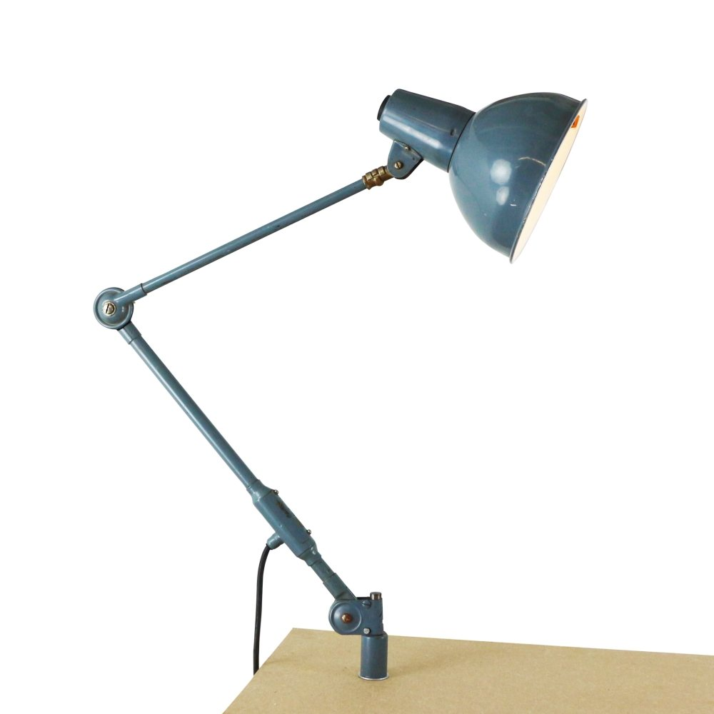 Industrial blue metal desk light by SIS, 1970s