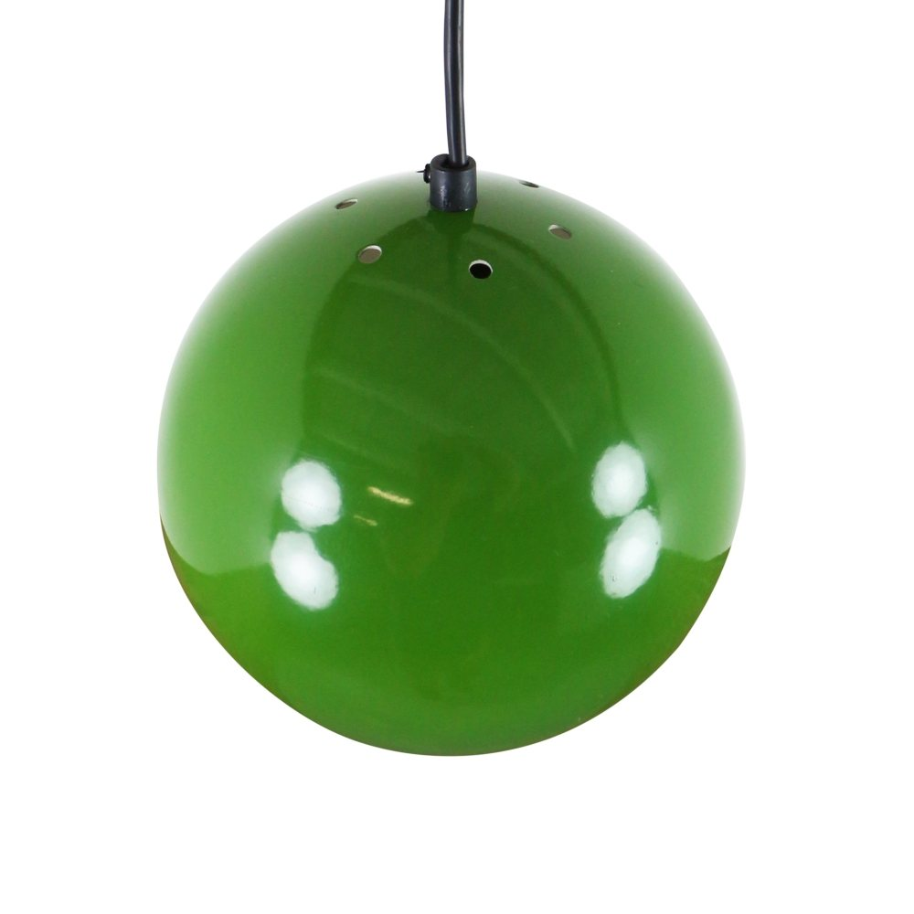 Pair of green metal globe pendant lights, 1970s