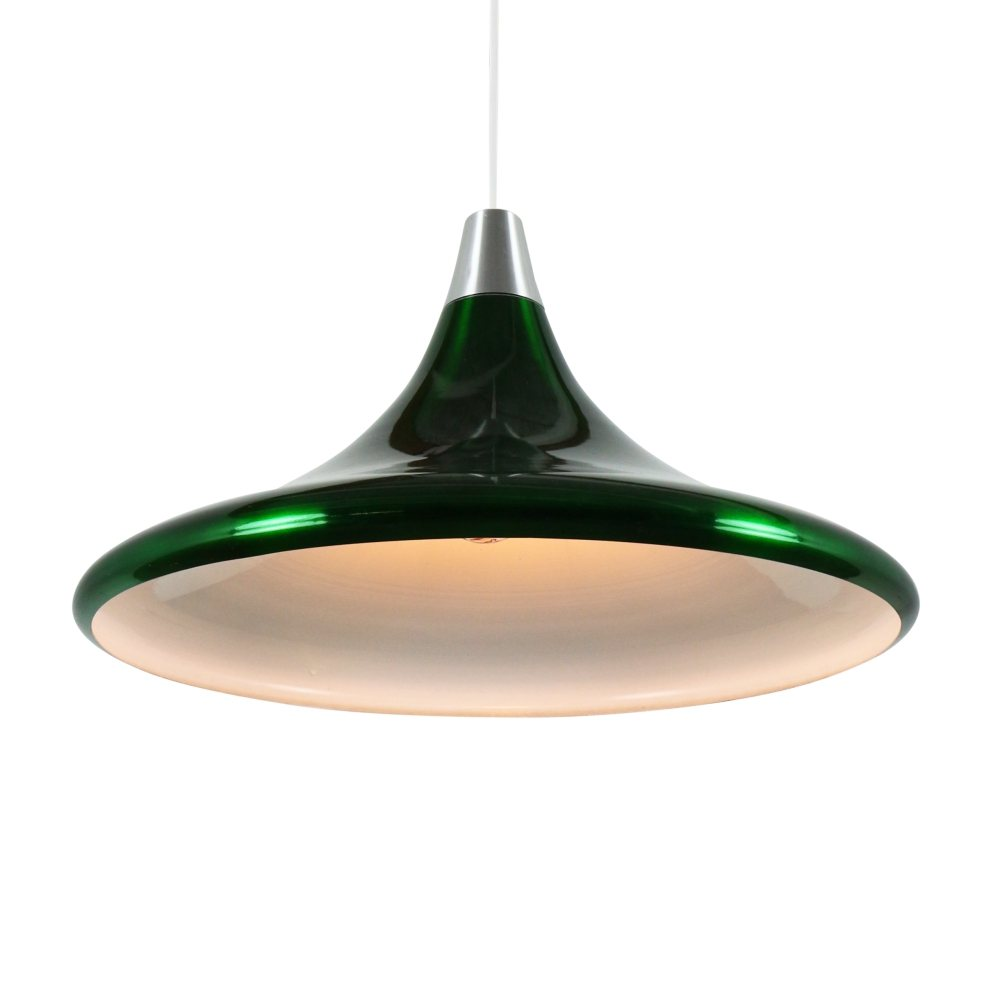 Metallic green aluminium pendant light by Philips, 1960s