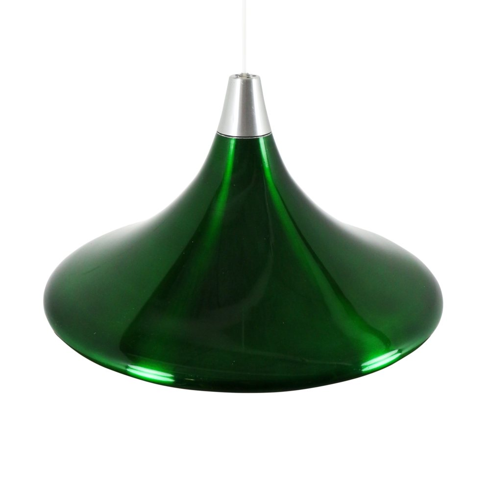 Metallic green aluminium NPD40 pendant light by Philips, 1960s