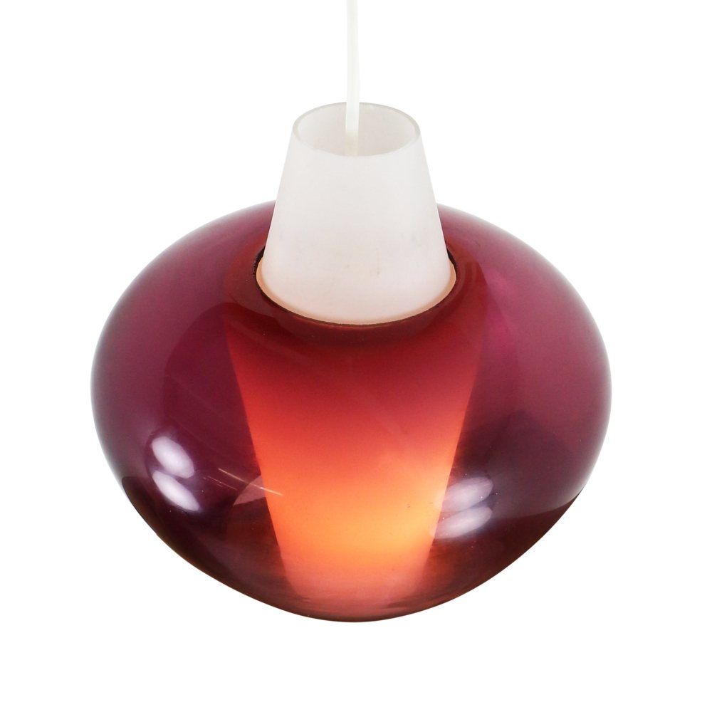 NG68 E/01 violet and white glass pendant lamp by Philips, 1960's