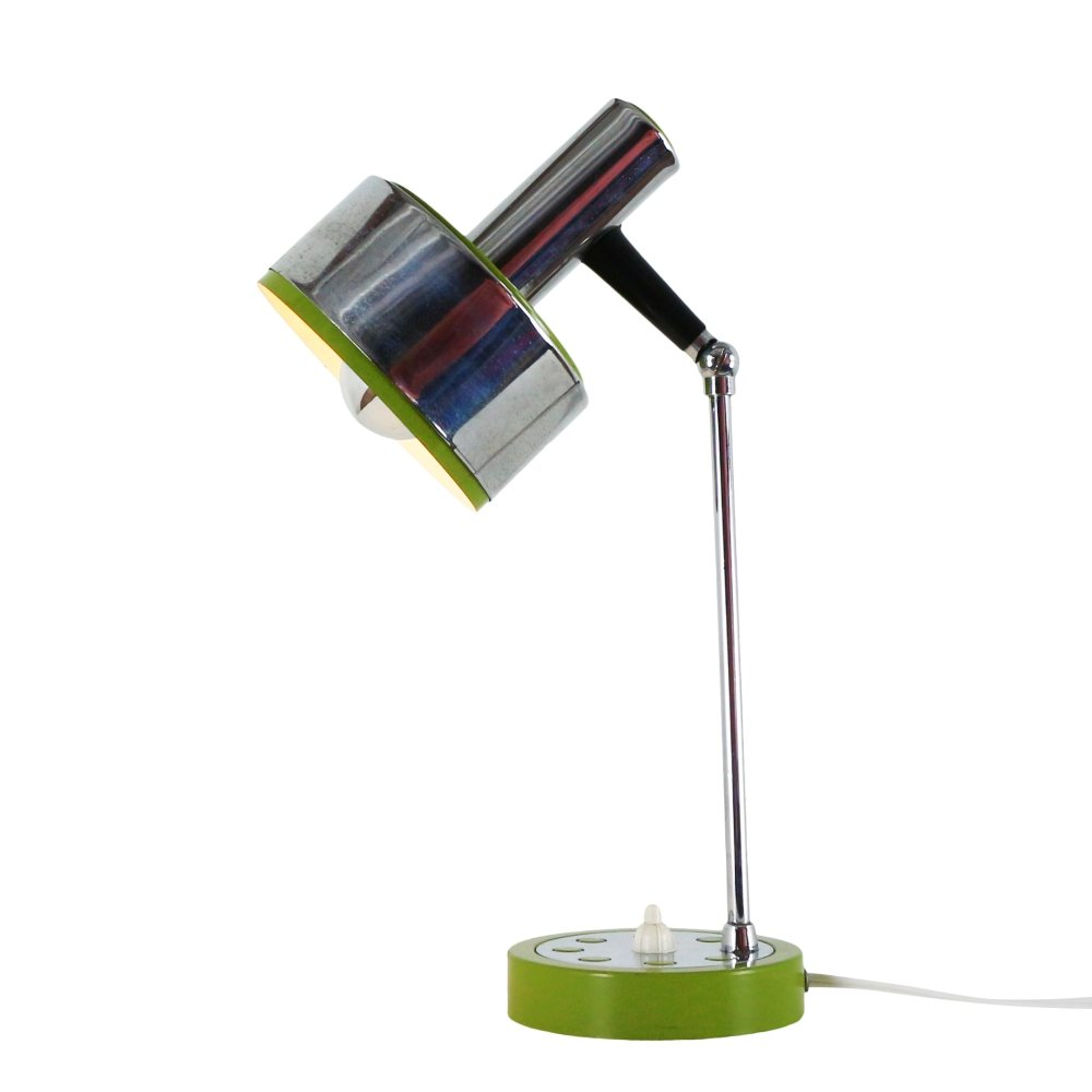 Green metal and chrome desk light, 1970s