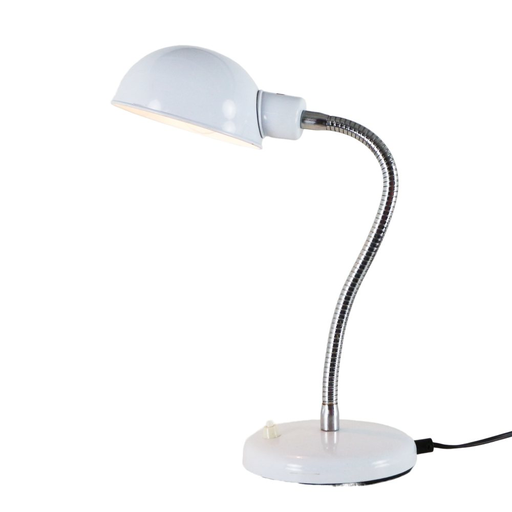 Adjustable white metal desk light, Italy 1970s