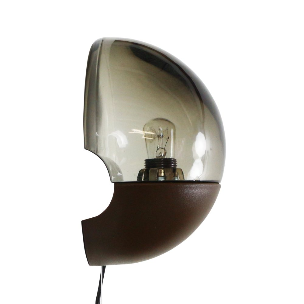 Retro wall light in brown plastic and smoked glass, 1970s