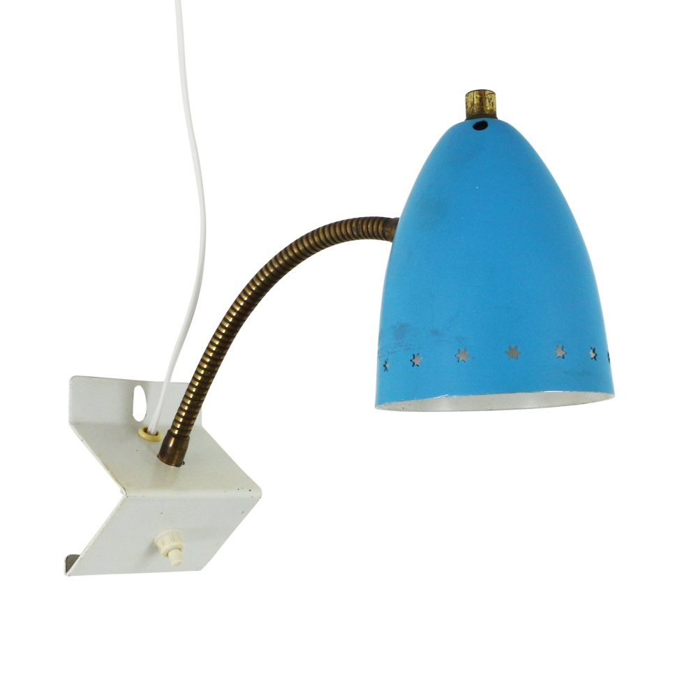 Blue 'Sterrenserie' wall light by H. Busquet for Hala Zeist, 1950s