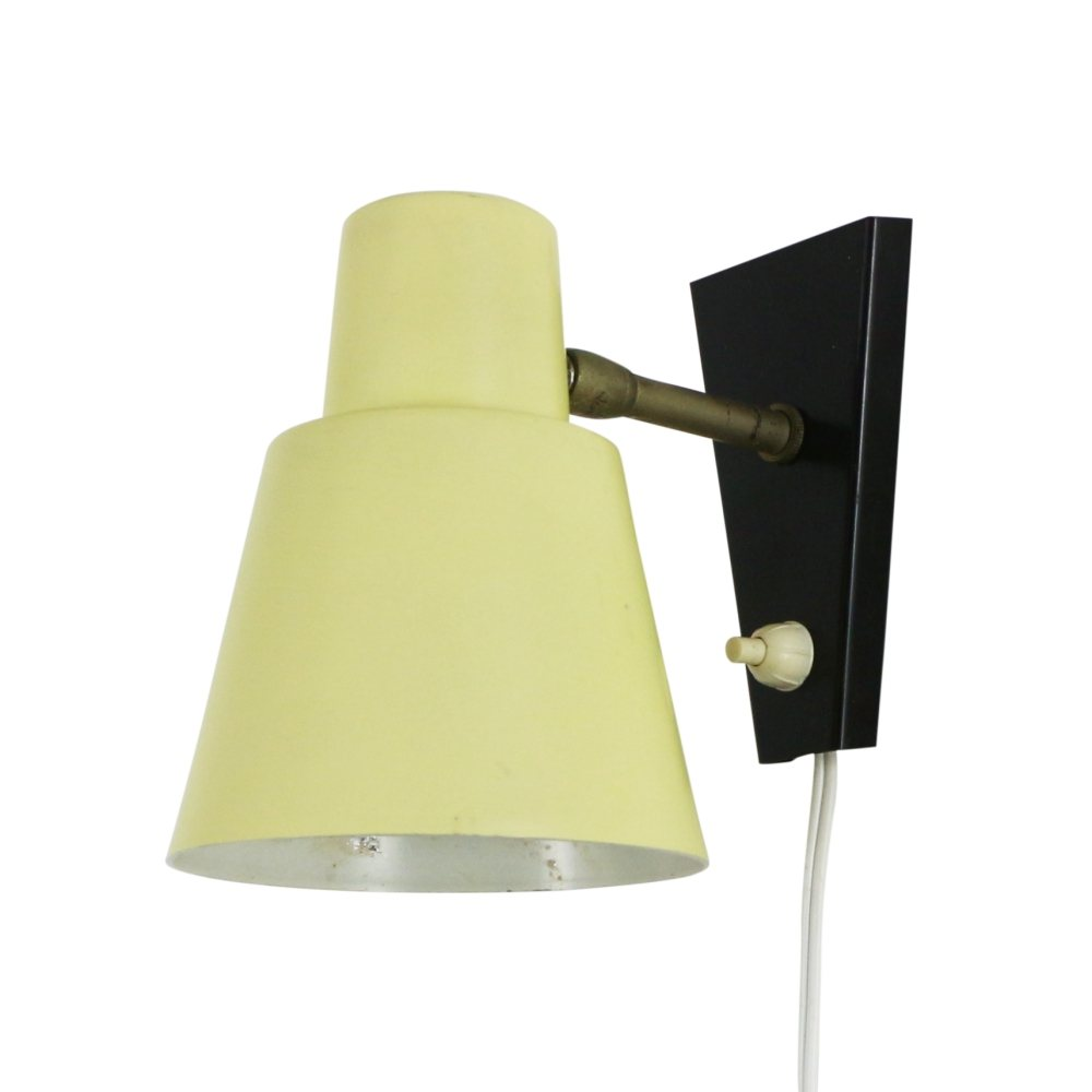 Light yellow and black wall light, 1960s