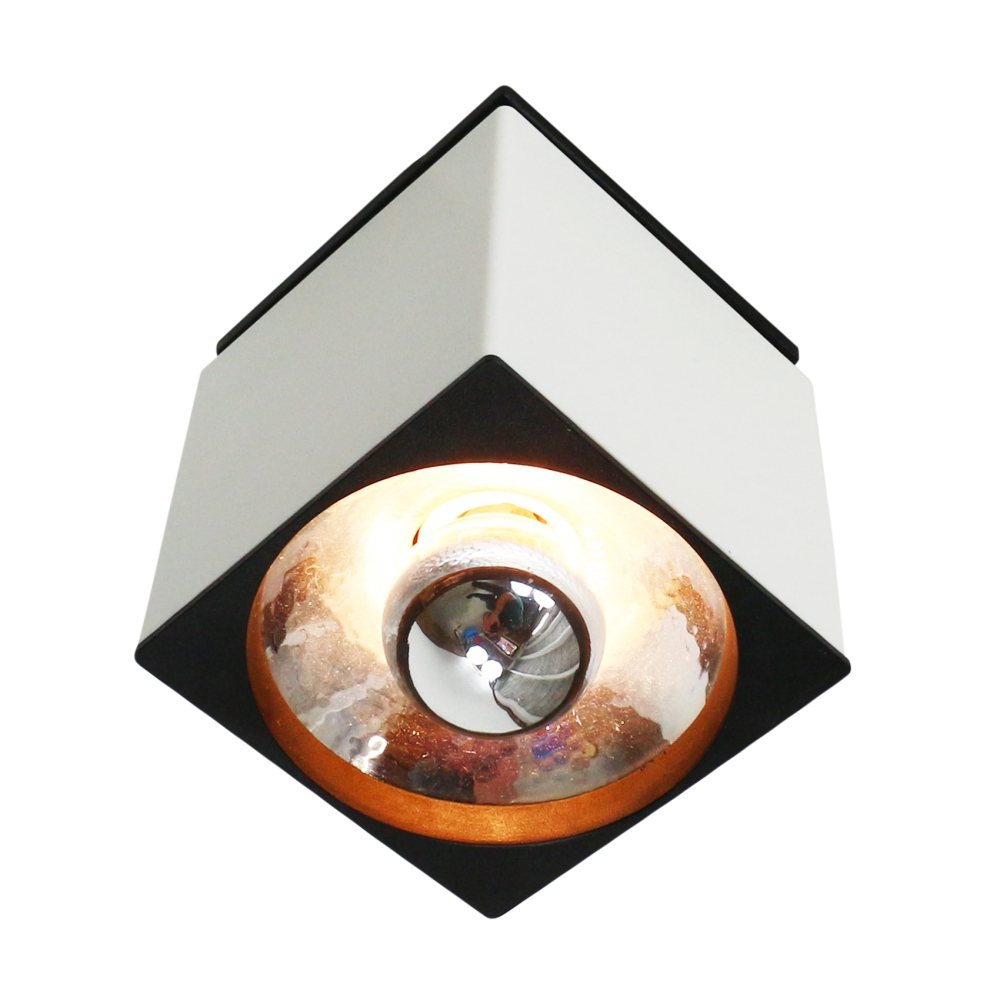 Black and white NCS 109/130 ceiling light by Philips, 1980s
