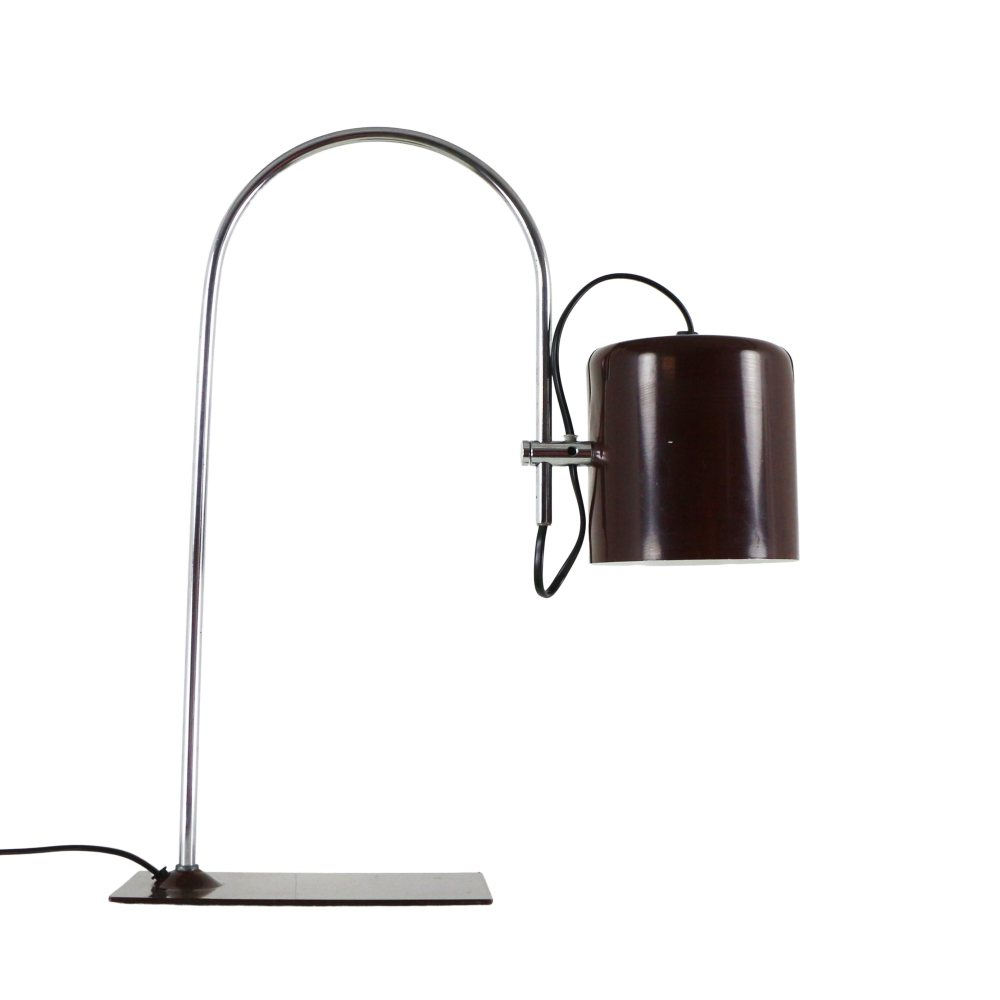 Brown adjustable 'coupe' desk light, 1970s