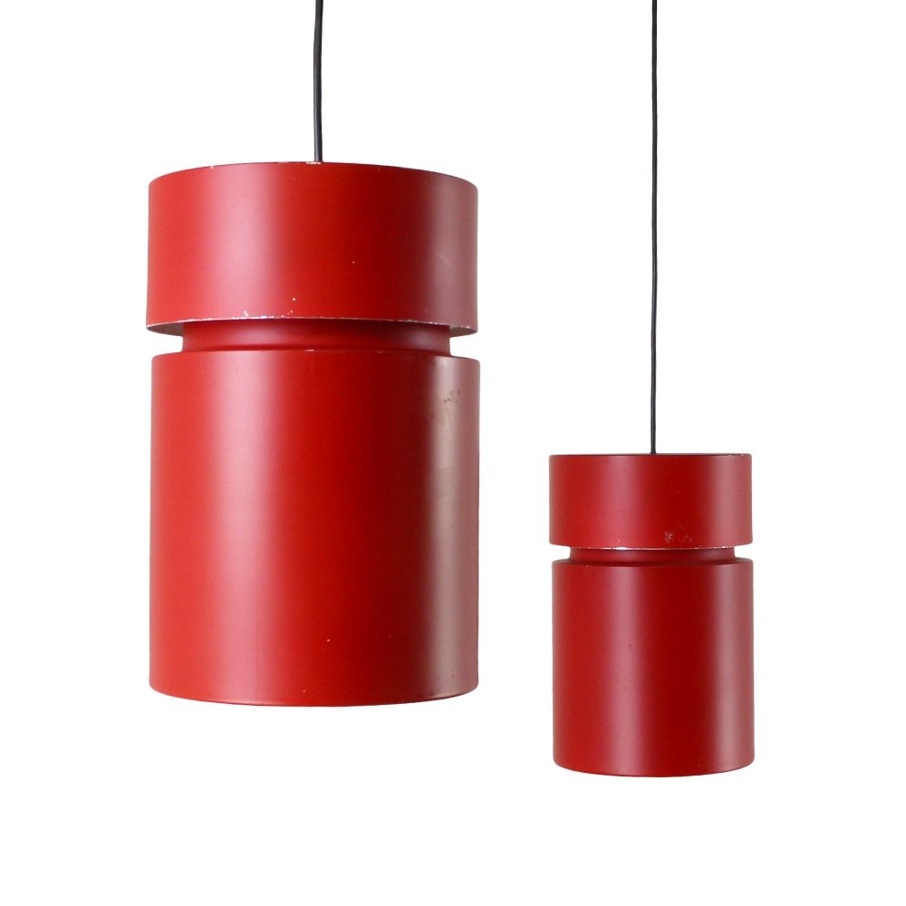 Pair of red cylinder pendant lights, 1970s