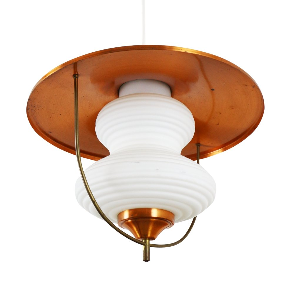Vintage Copper and glass pendant lamp, 1960s