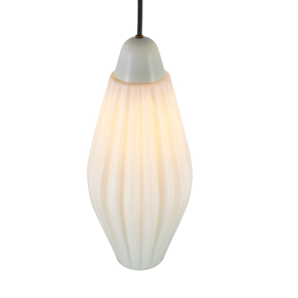 Vintage ribbed glass pendant light, 1960s
