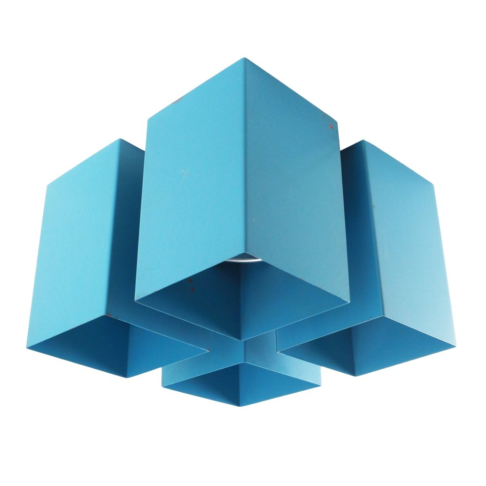 Light blue 'Viervoud' ceiling light by Raak, 1970s