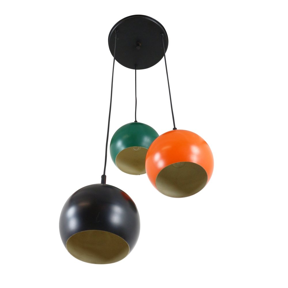 Retro 3 globe pendant light, 1970s