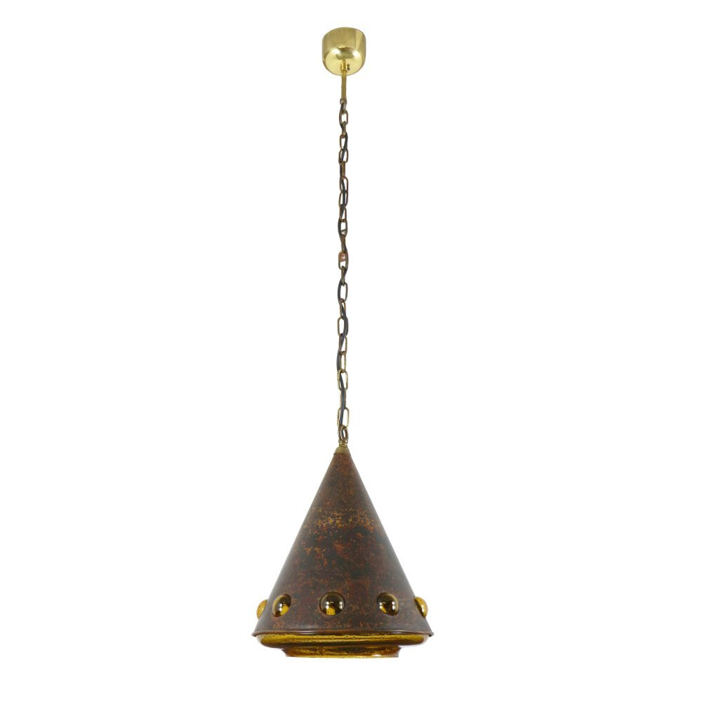 Large copper and glass pendant light, 1970s