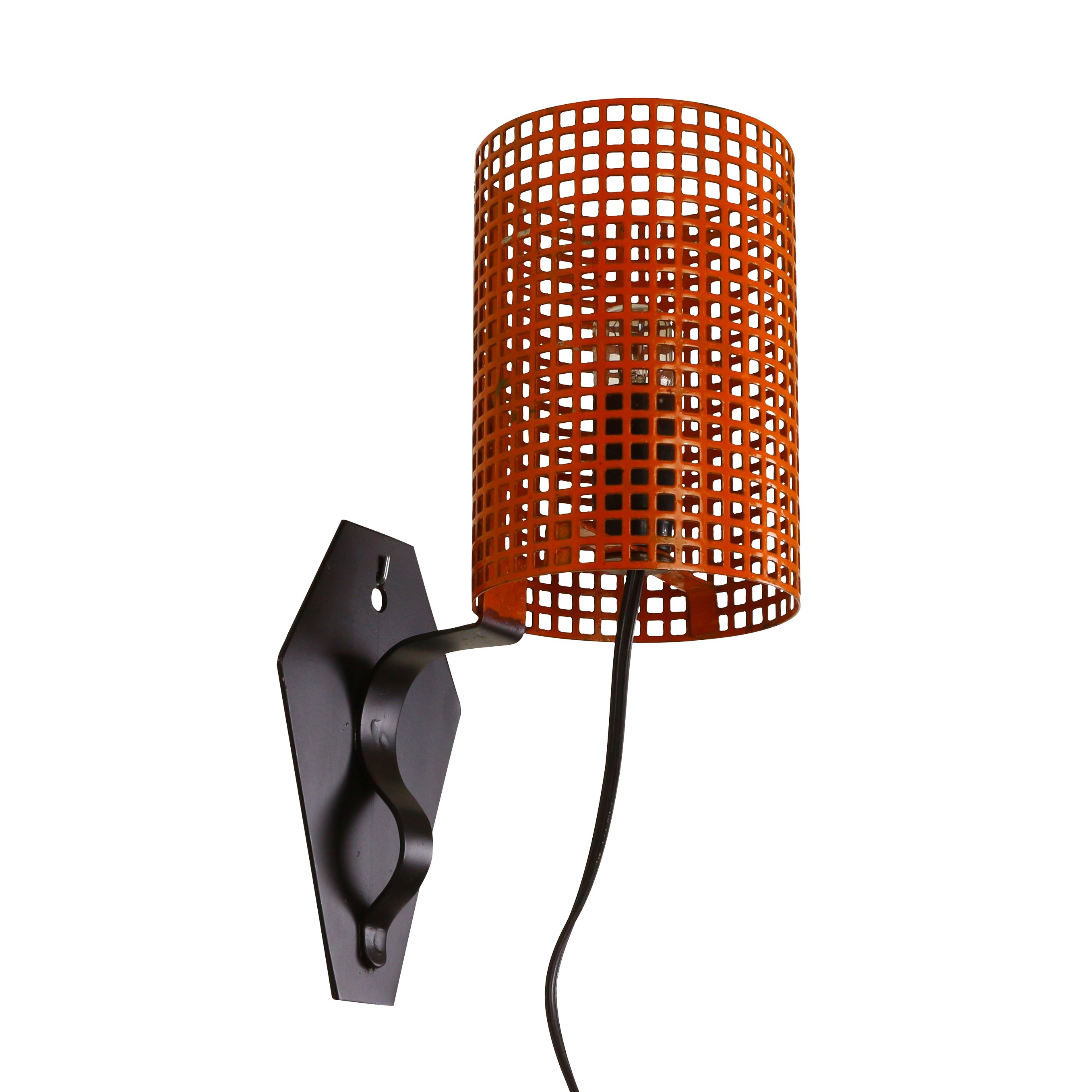 Dark Metal Wall Lights : Orange and black metal wall light with a perforated shade, 1960s #1061