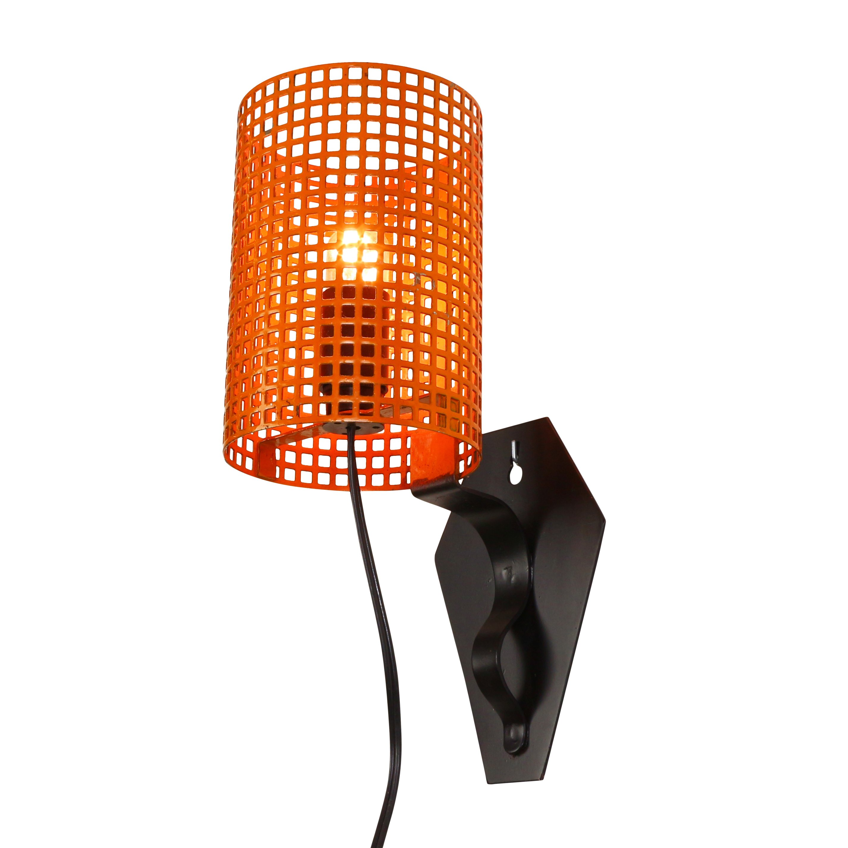 Orange and black metal wall light with a perforated shade 1960s 1061 orange and black metal wall light with a perforated shade 1960s mozeypictures Image collections