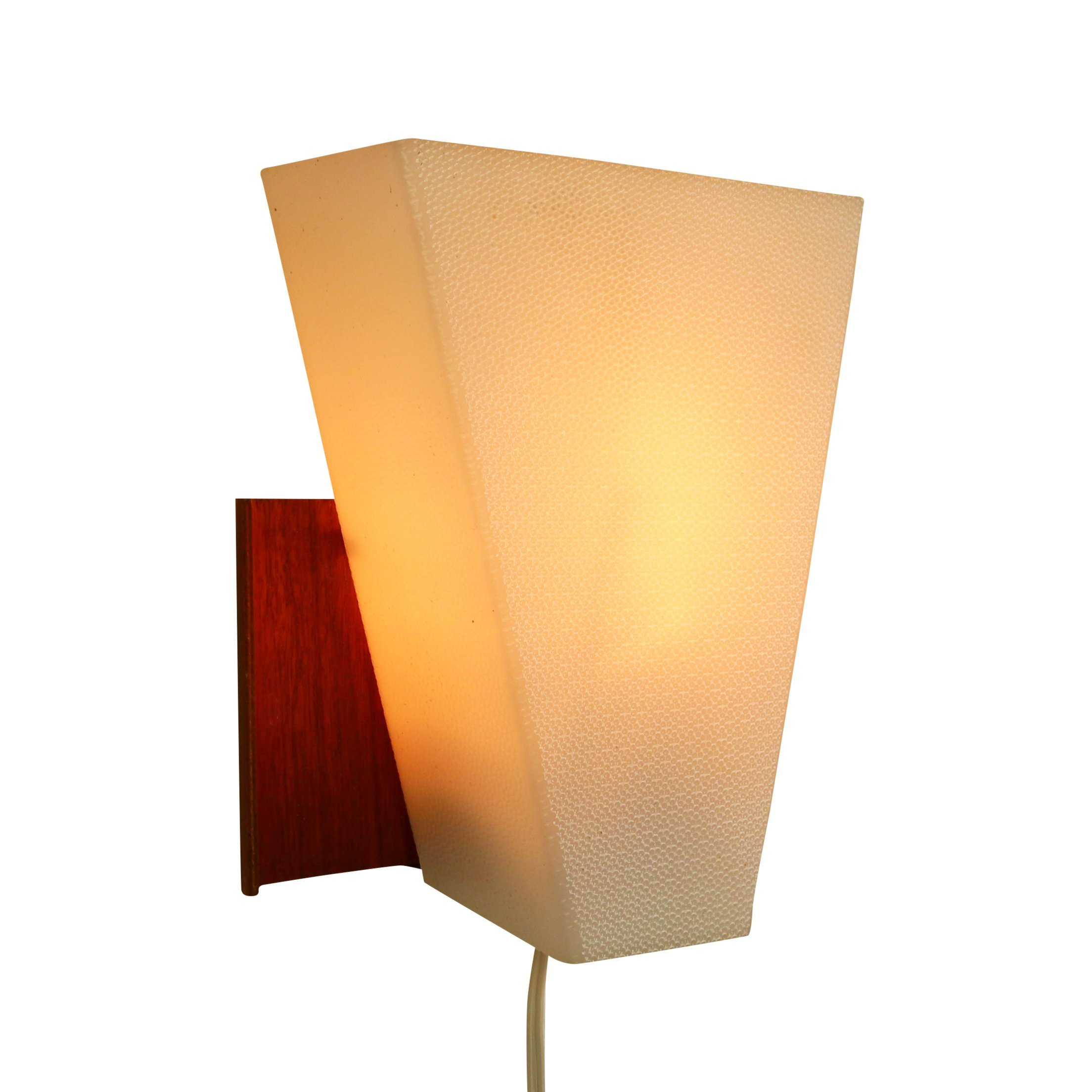 Wall Lights Made From Wood : Scandinavian wall light made of wood and plastic, 1960s #1073