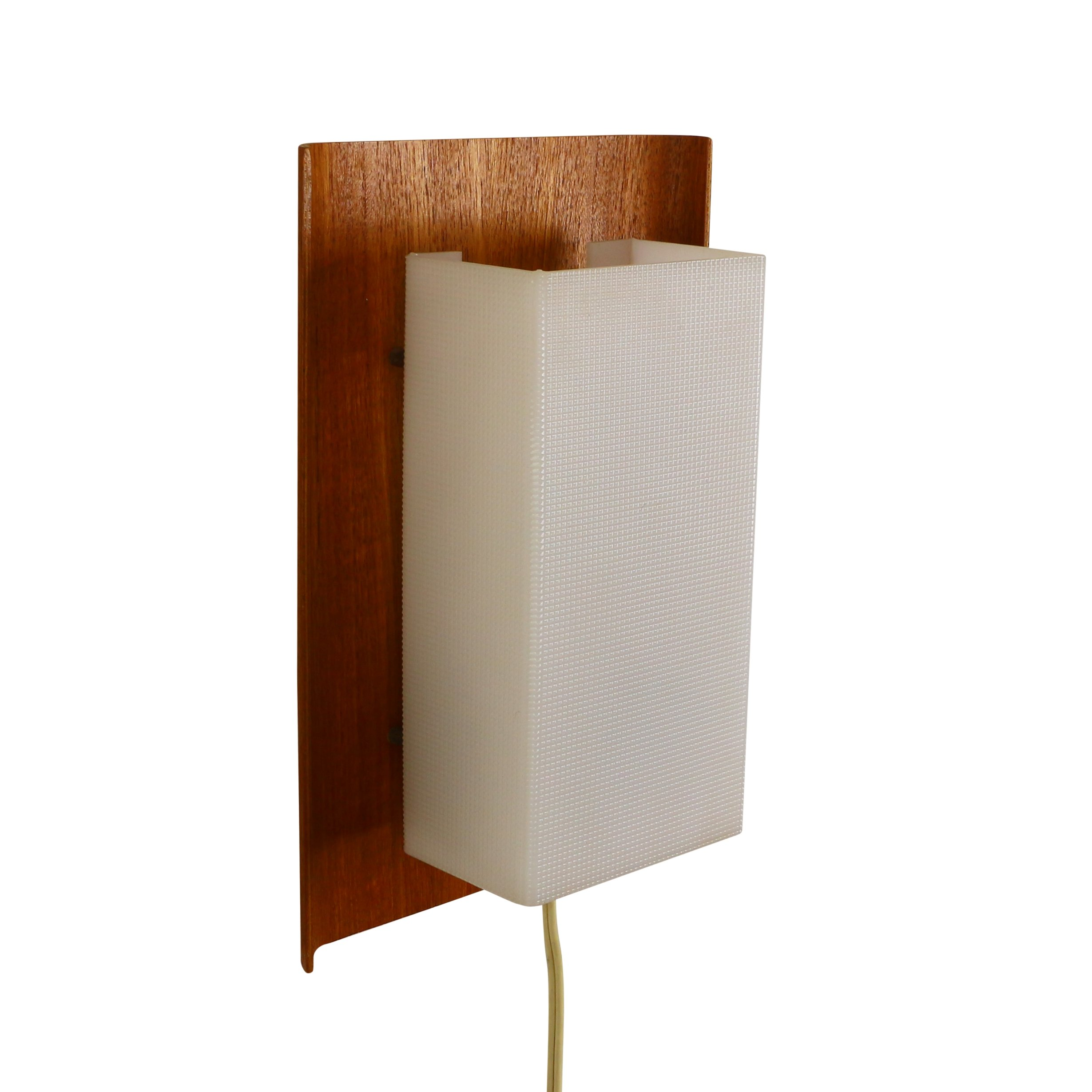 Scandinavian wall light from the sixties made of wood and plastic #1074