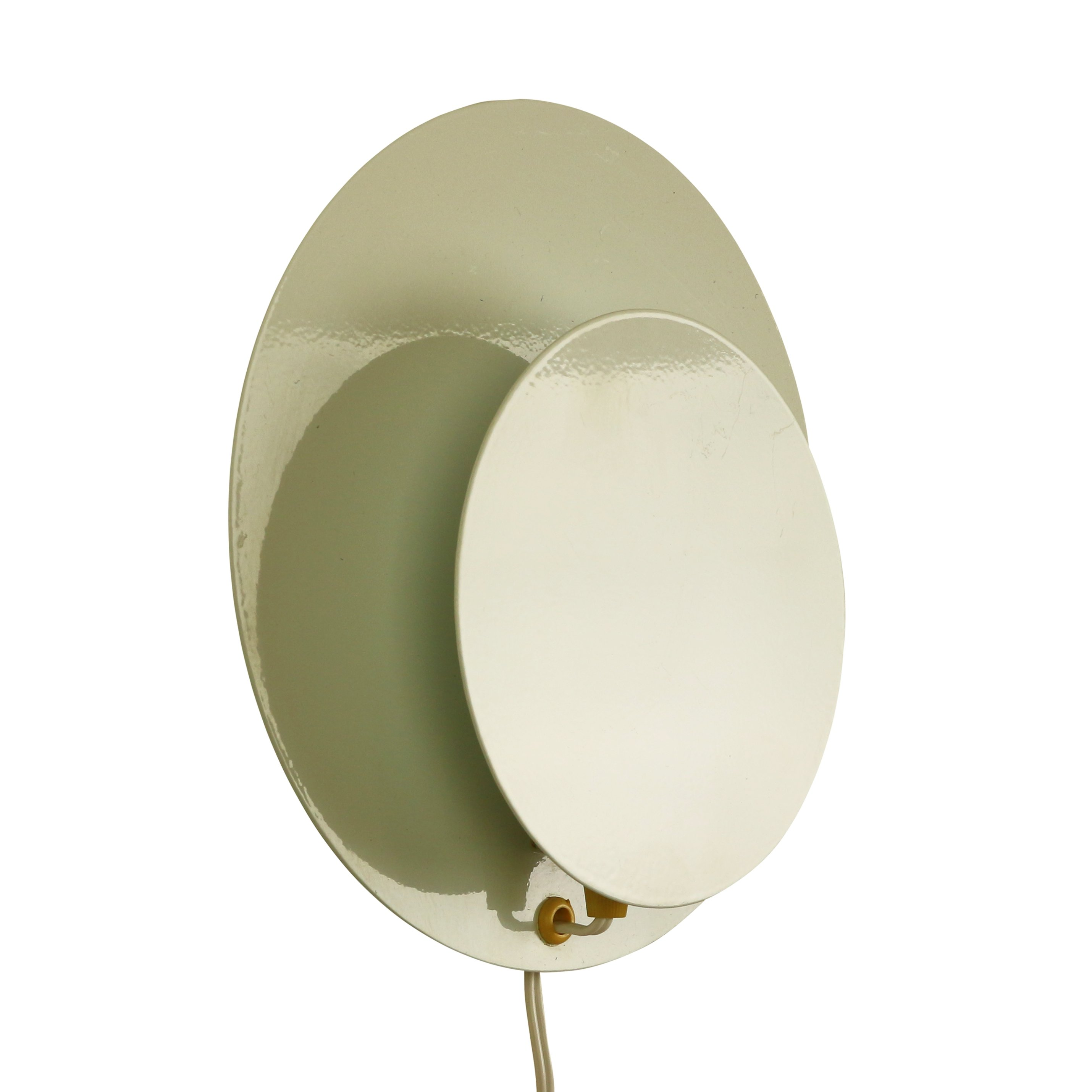 Circular white metal wall light, 1970s #1078