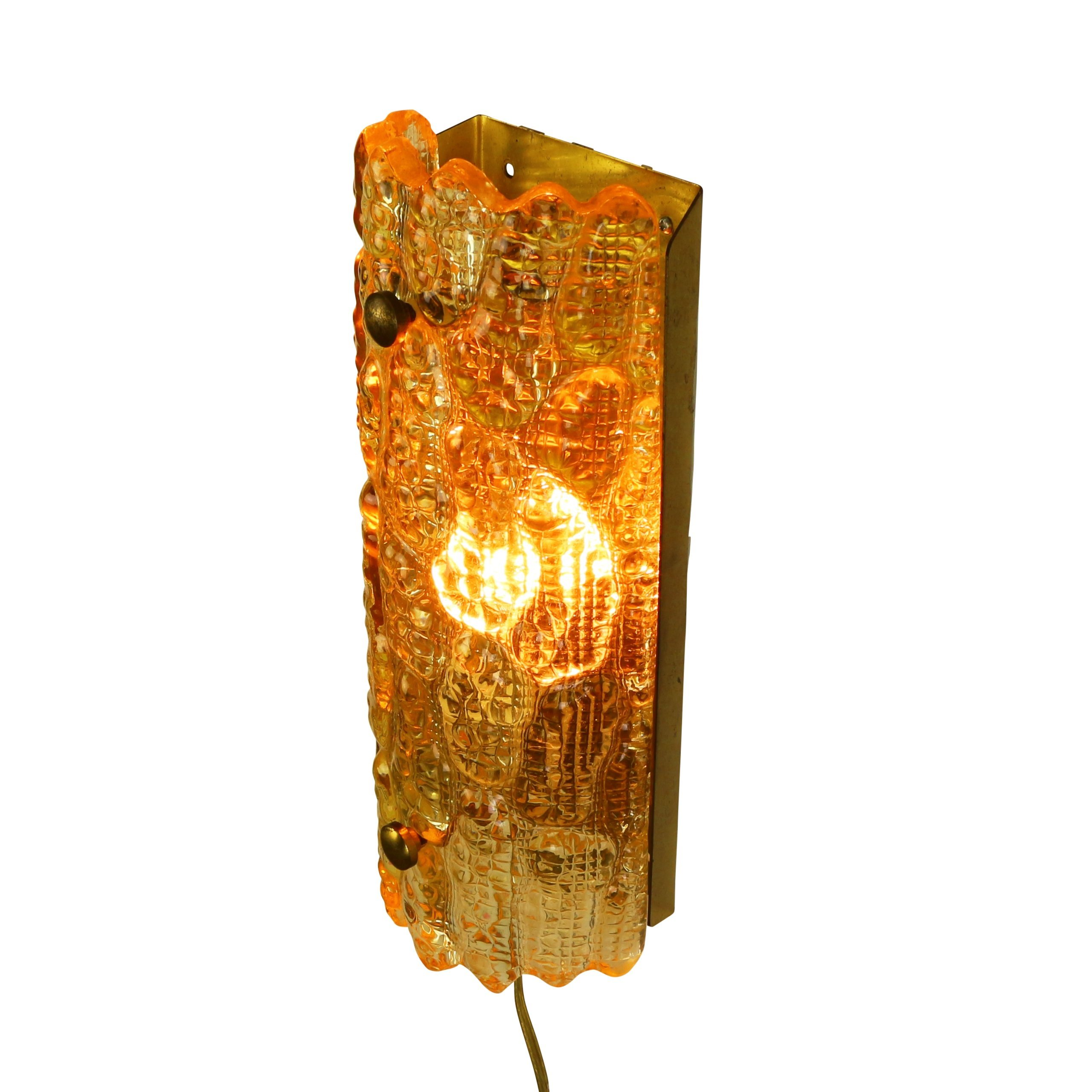 Patterned Glass Wall Lights : Relief patterned glass wall light called Orrefors Geffion produced in the sixties by Lyfa ...
