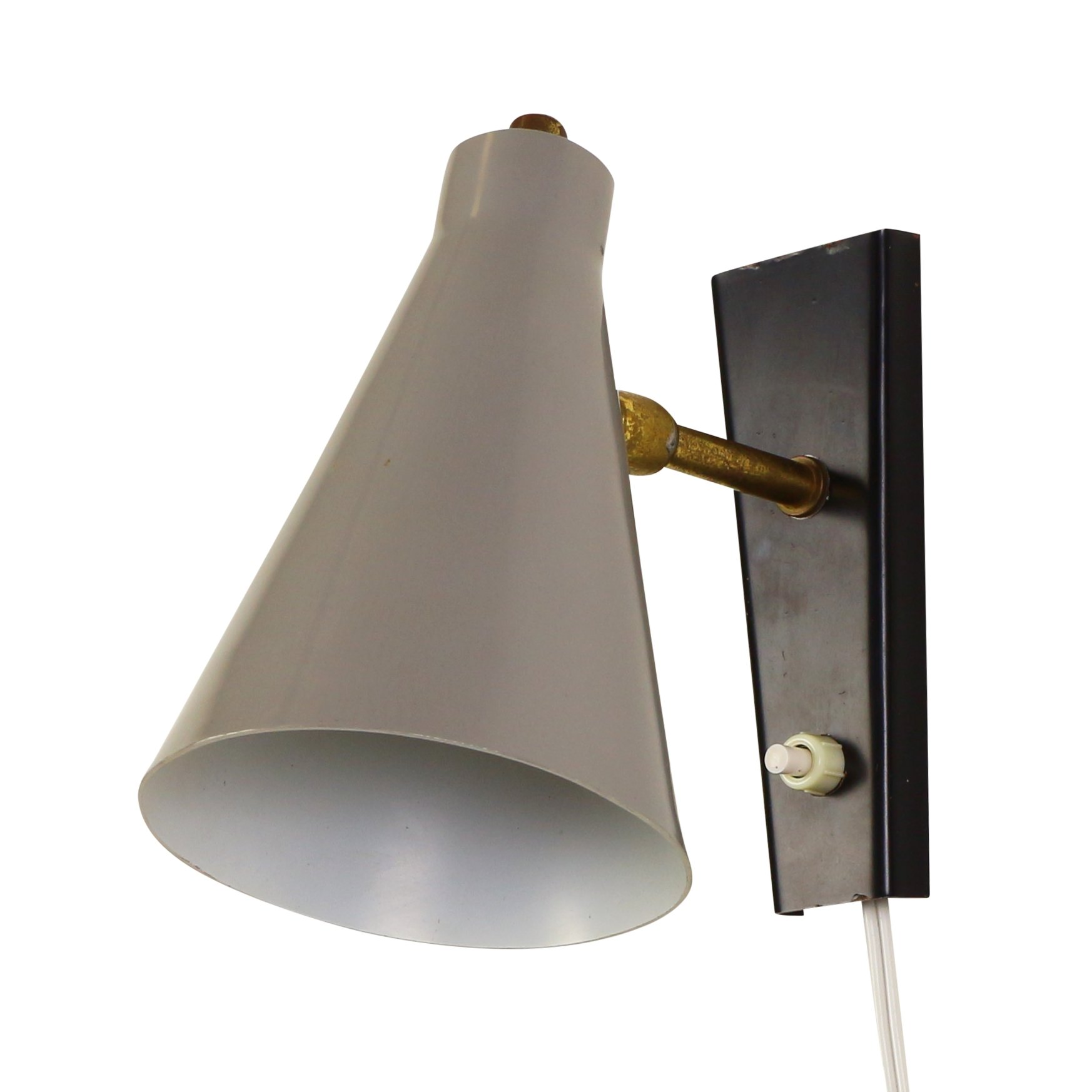 Vintage Grey Wall Lights : Grey and Black Italian design wall light, 1950s #1083