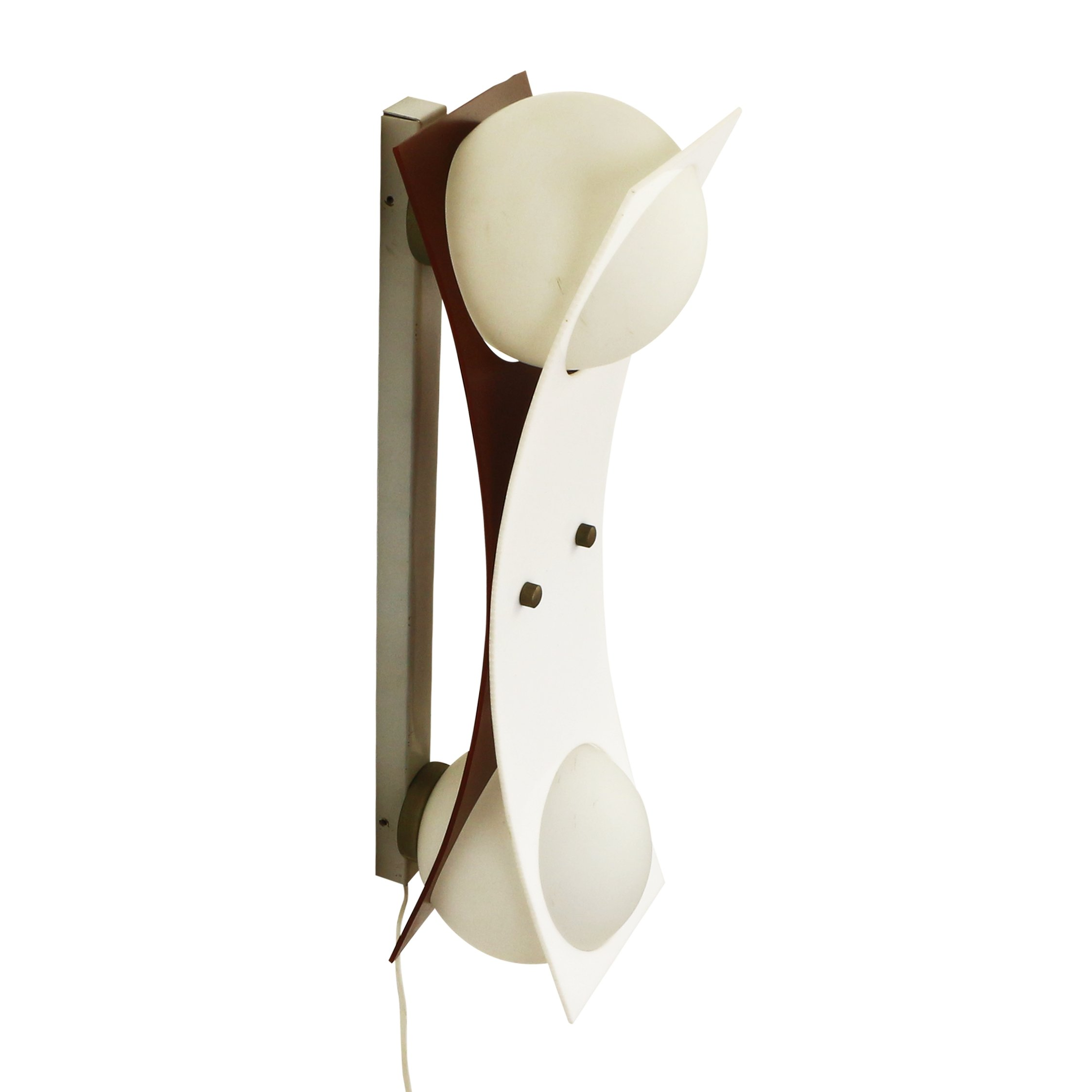 Glass Ball Wall Lights : Double glass ball wall light with white and brown perspex details, 1970s #1124