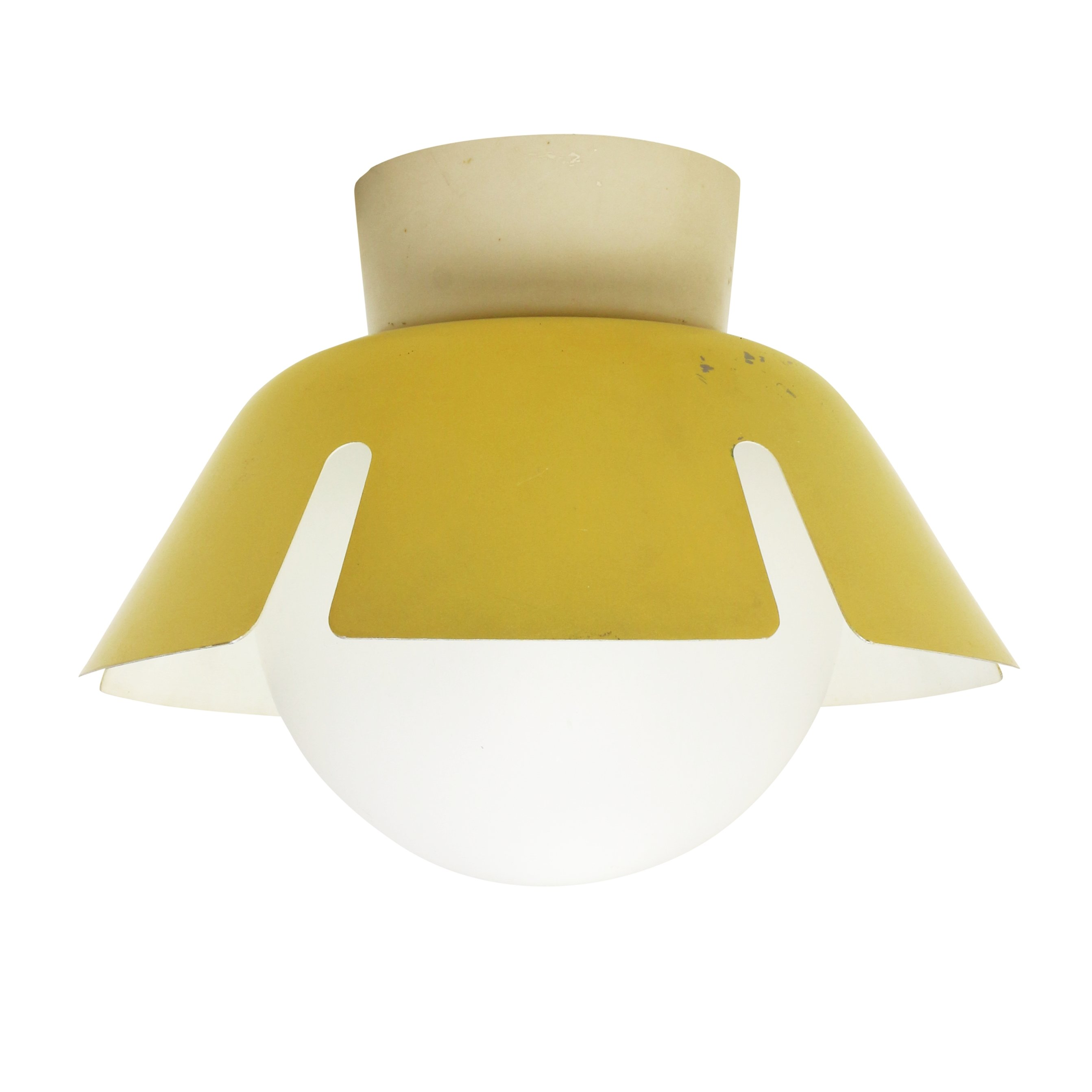 Flower ceiling light in bright yellow with milk glass ball 1960s flower ceiling light in bright yellow with milk glass ball 1960s arubaitofo Gallery