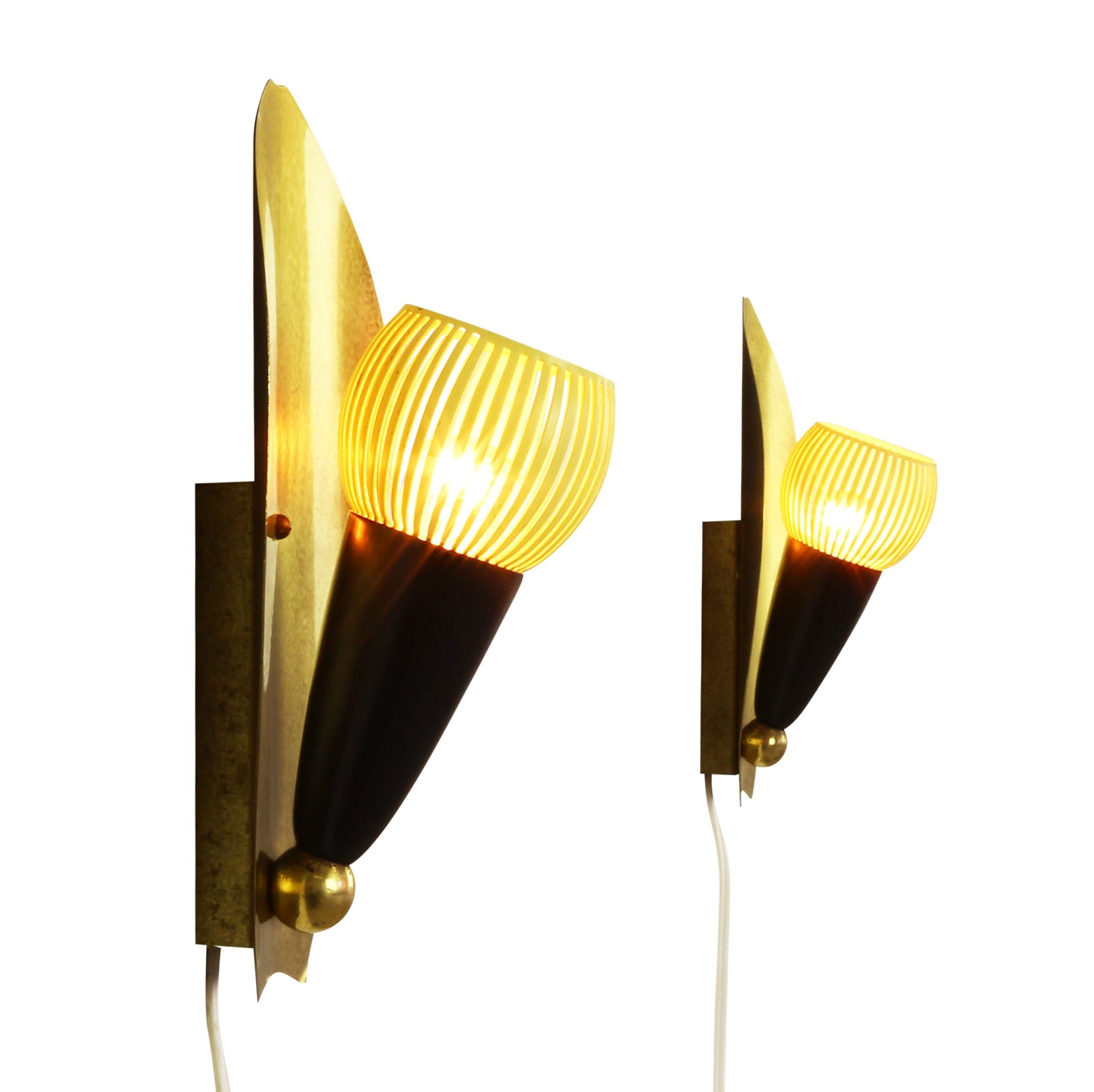 Set of two sophisticated art deco style wall lights, 1950s | #1129