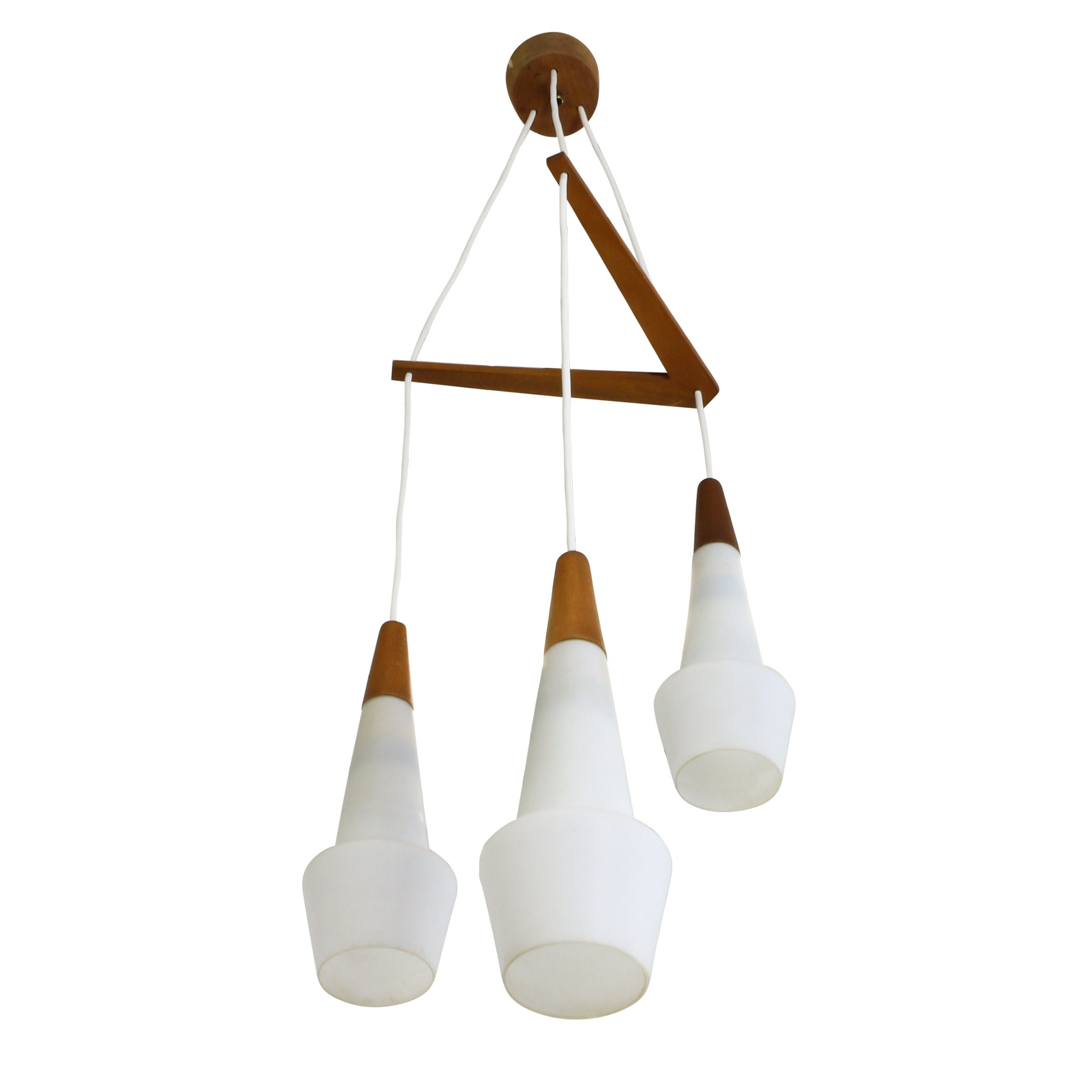 Scandinavian Tri Cone Milk Glass Pendant Light, 1960s