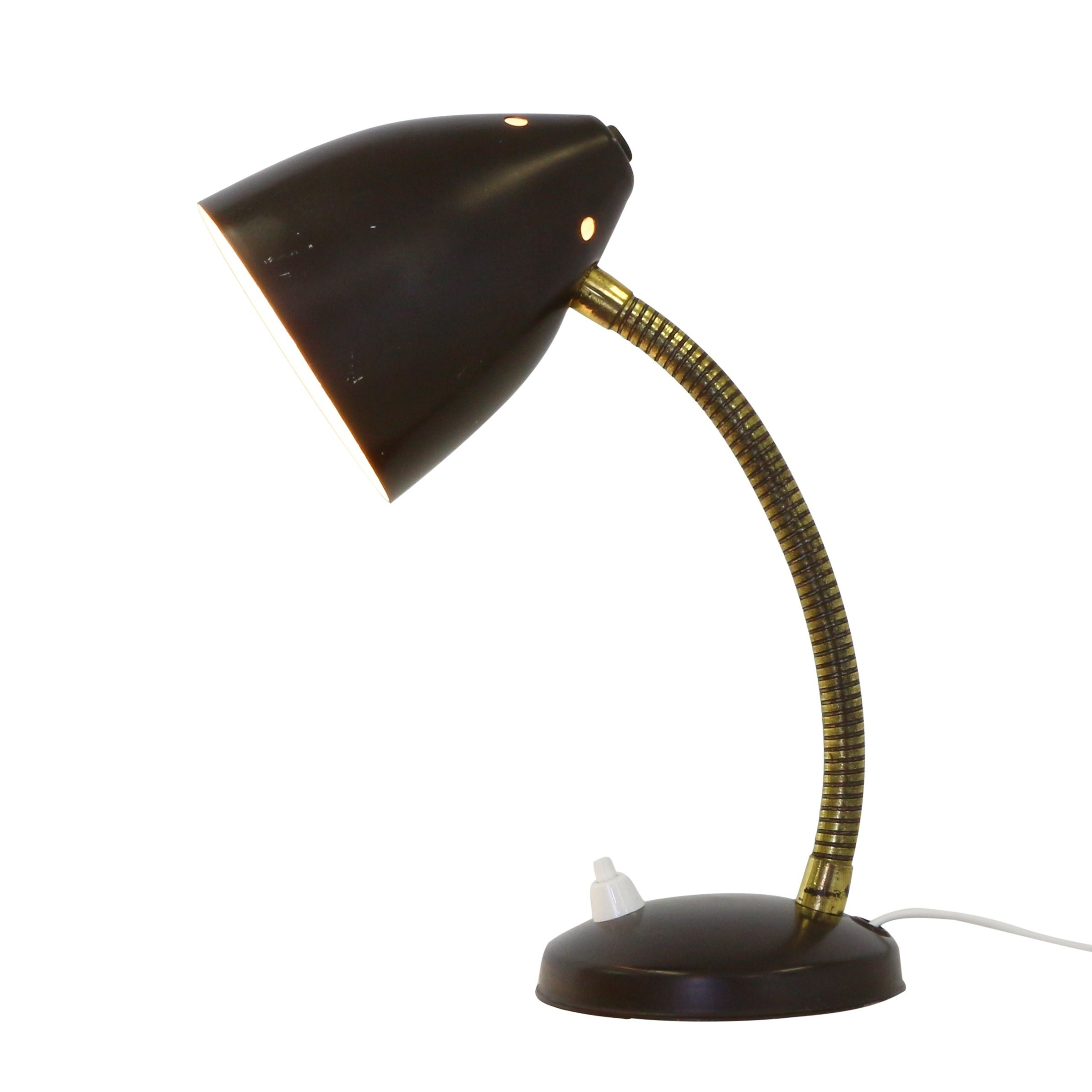 Dark brown desk or wall light produced by Hala Zeist in the seventies #1166