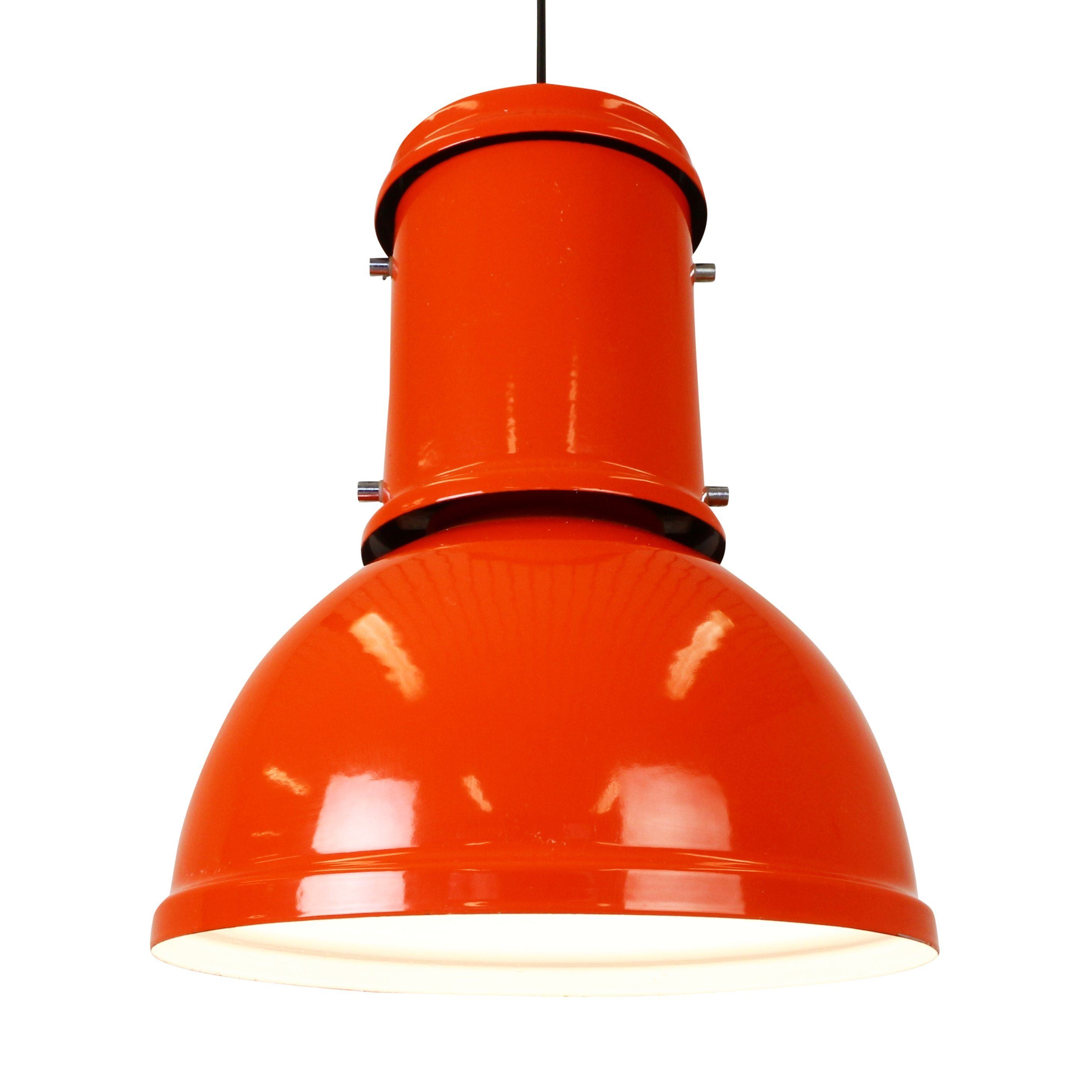 Large Orange Industrial Enameled Metal Pendant Light From