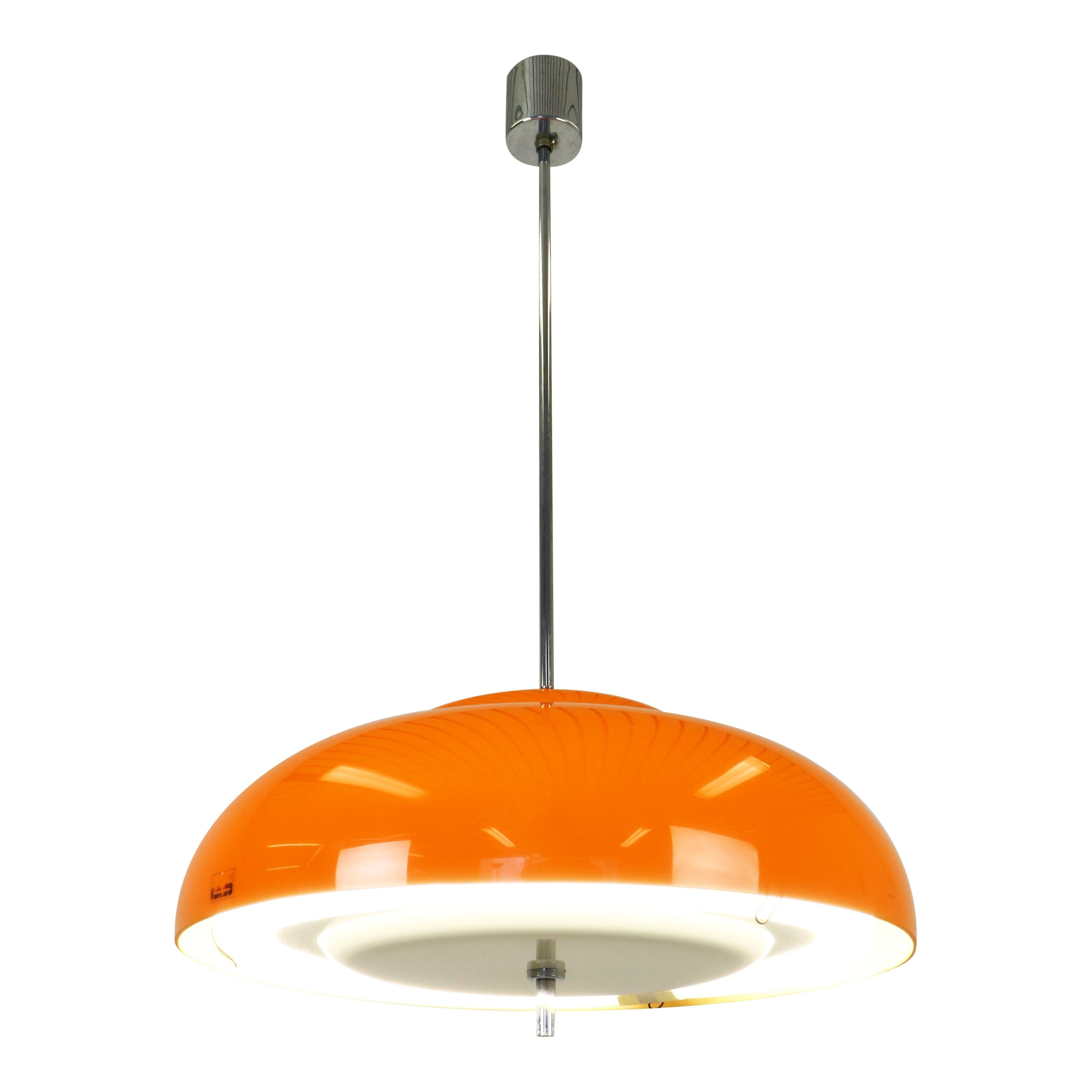 Vintage Round Fluorescent Light Fixture: Space Age Orange Pendant From The Seventies With Round