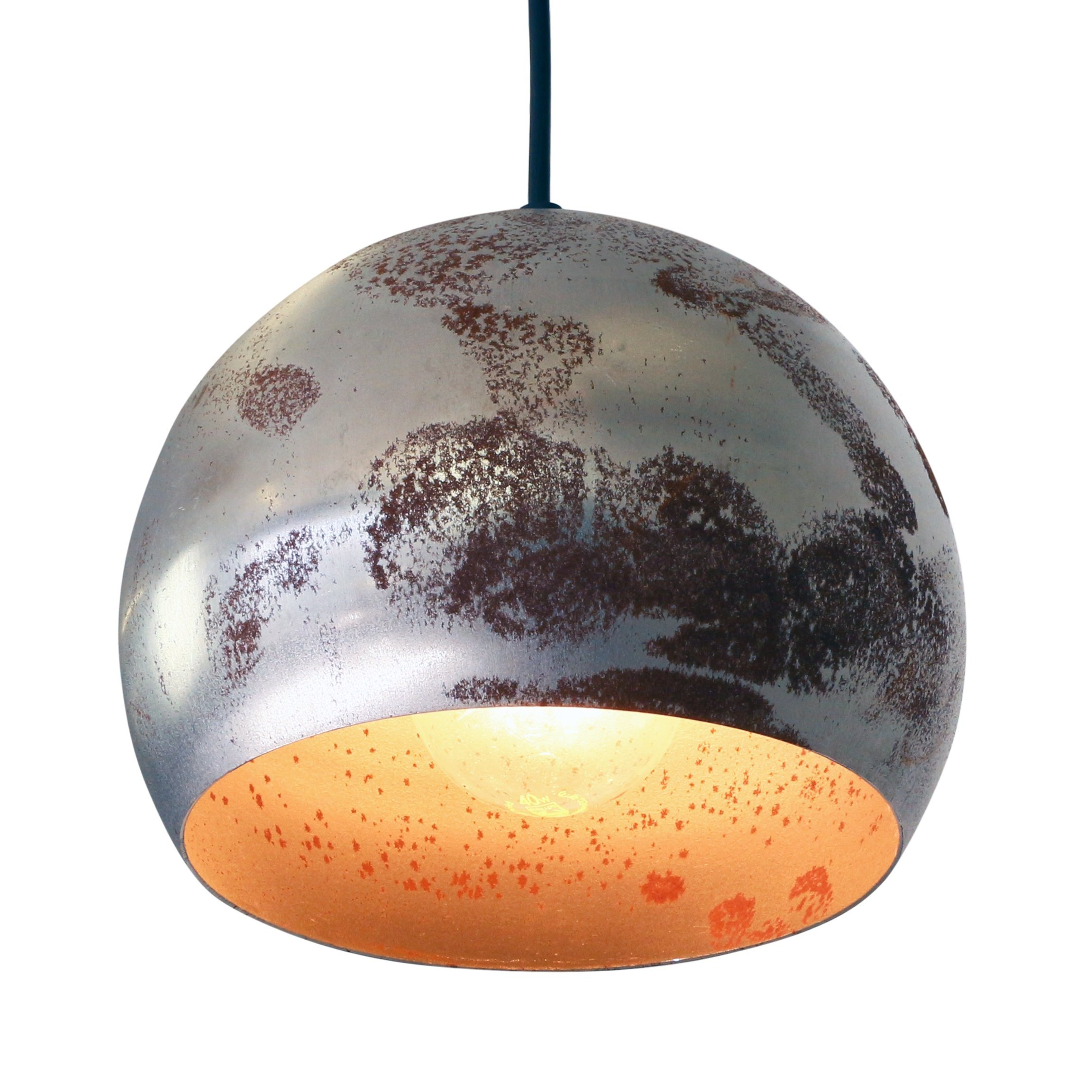Set Of  Decorative Rusty Metal Globe Pendant Lights From The Sixties