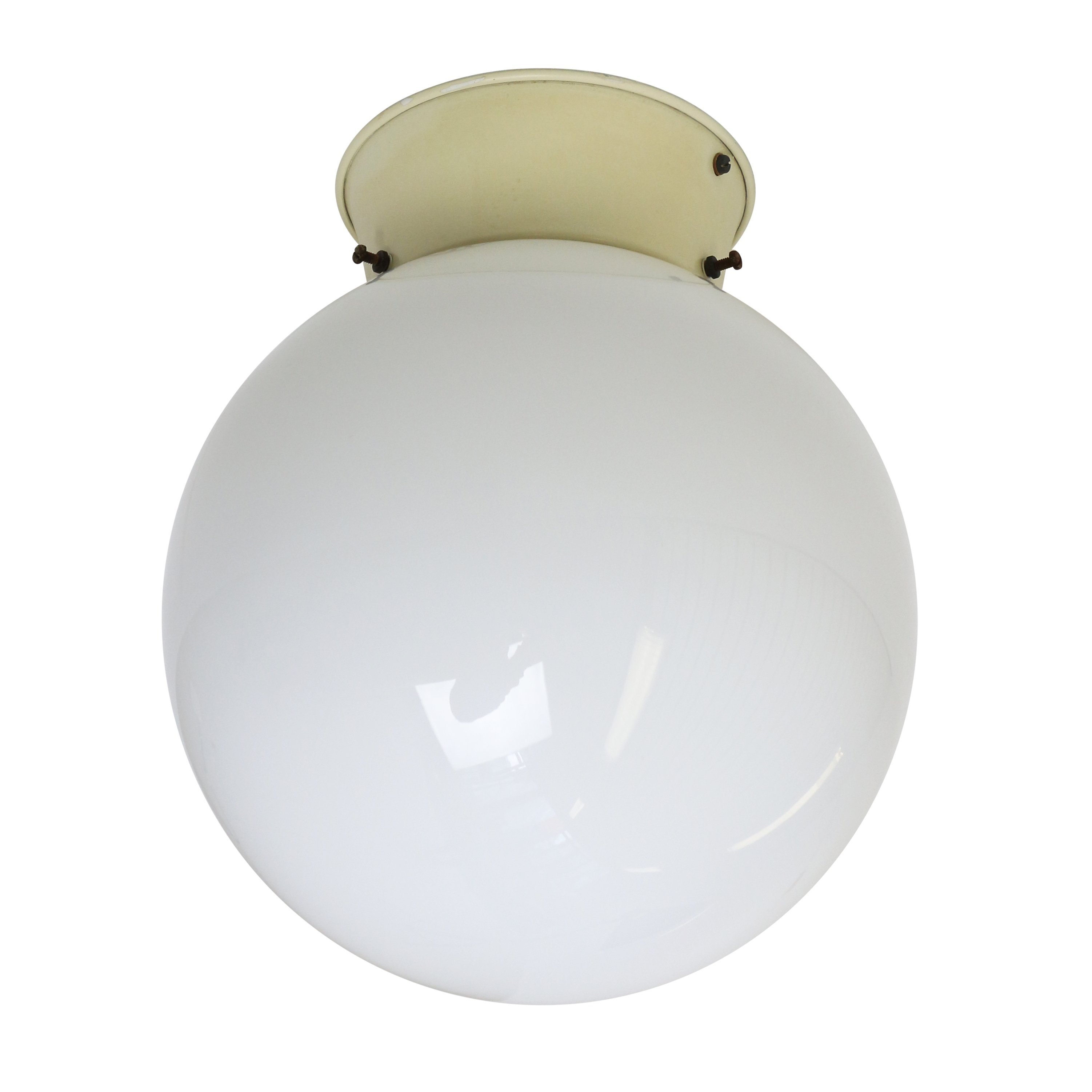 Globe Ceiling Light Fixture: Opal glass globe ceiling light from the thirties,Lighting