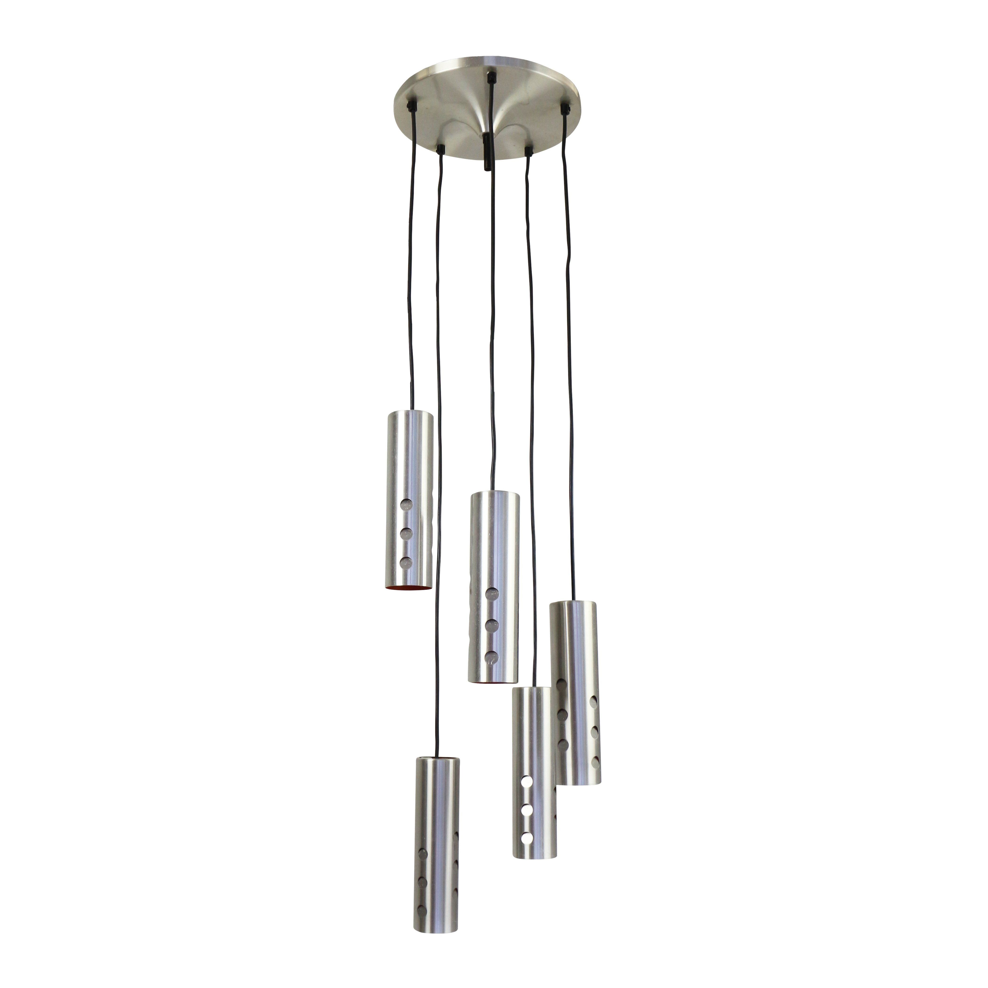 Chandelier pendant with 5 cascading cylinder lights 1960s